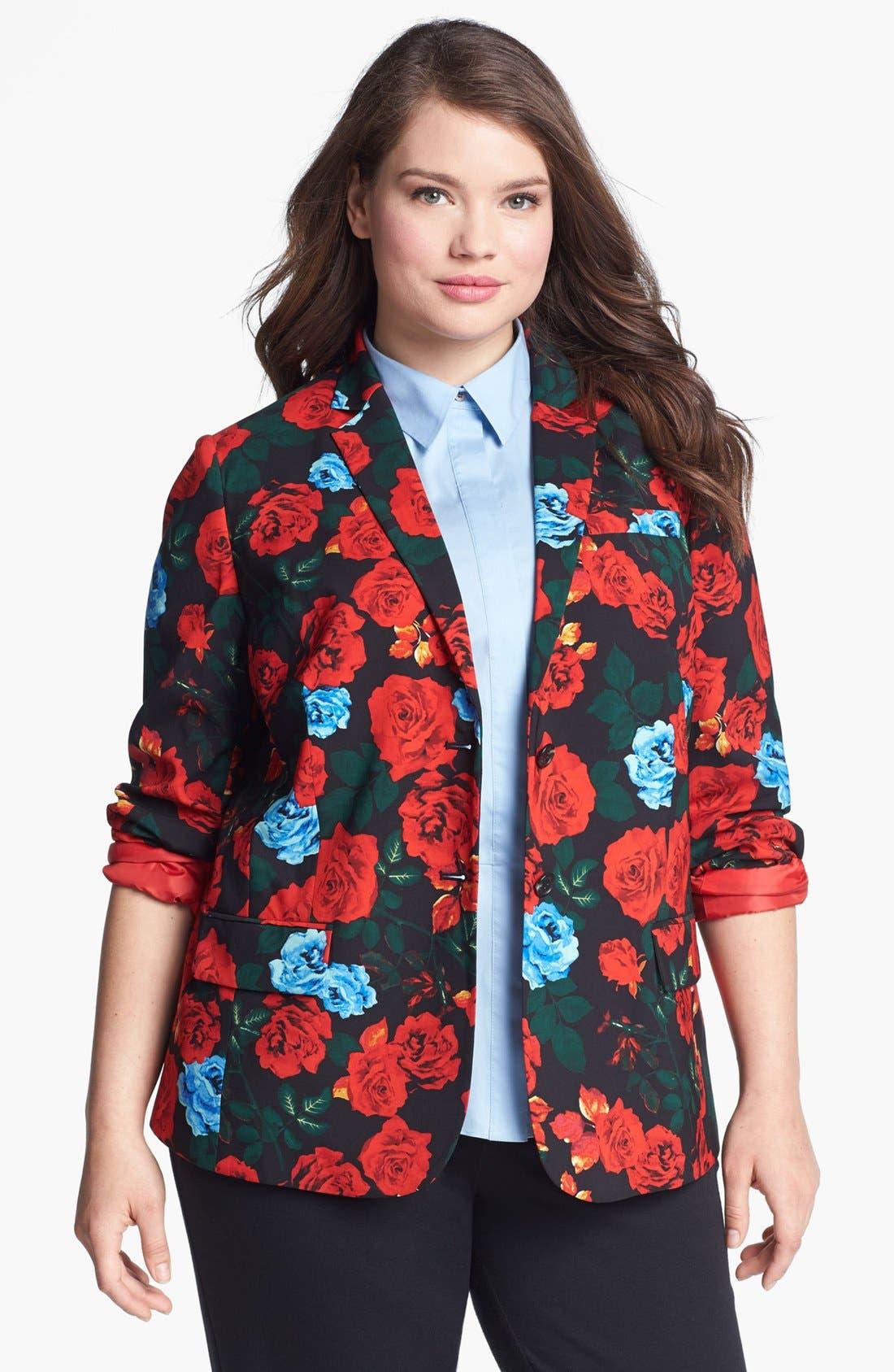 Main Image - Vince Camuto Rose Print Blazer (Plus Size)