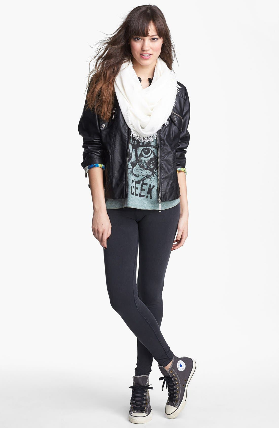 Alternate Image 2  - Jou Jou Zip Front Faux Leather Jacket (Juniors) (Online Only)