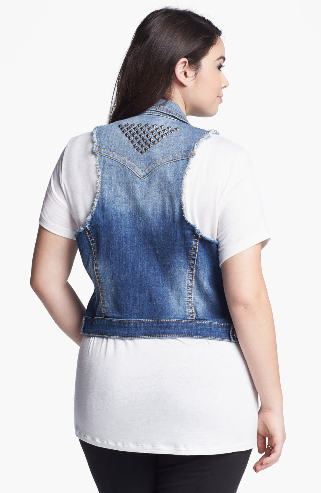 Alternate Image 2  - Silver Jeans Co. Denim Vest (Juniors Plus)
