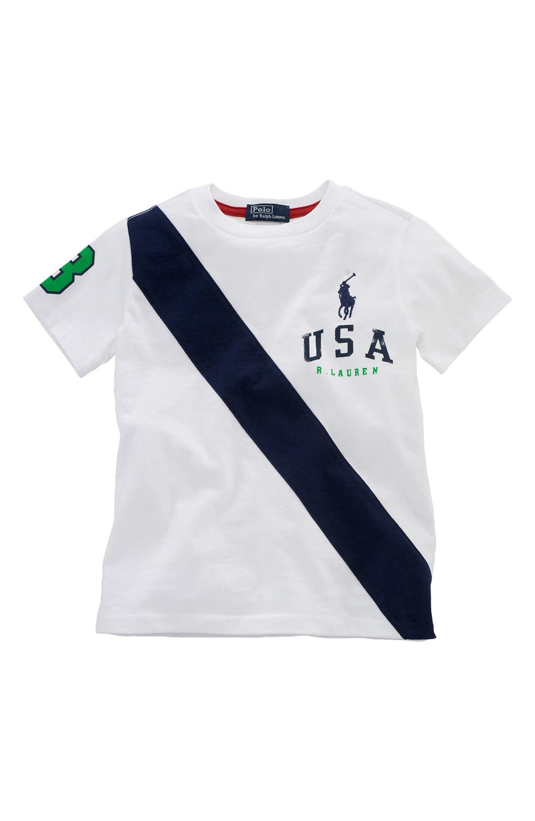 Alternate Image 1 Selected - Polo Ralph Lauren 'USA Banner' T-Shirt (Toddler)