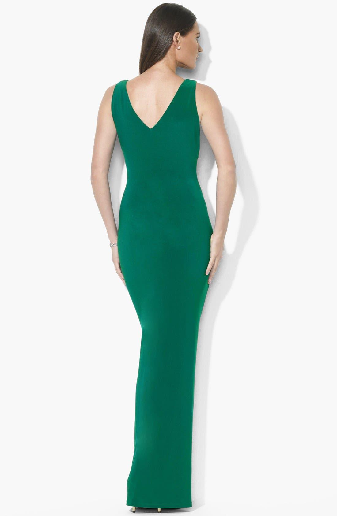 Alternate Image 2  - Lauren Ralph Lauren Ruffled Matte Jersey Gown