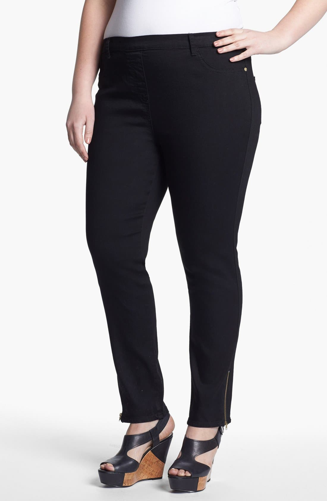 Main Image - Evans Ankle Zip Denim Leggings (Plus Size)