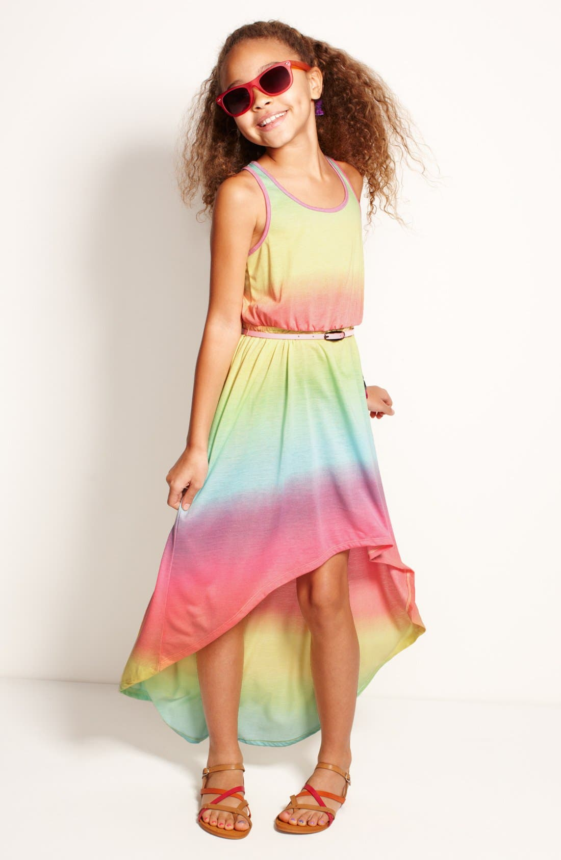 Main Image - Fire Tie Dye Dress & Accessories (Little Girls & Big Girls)