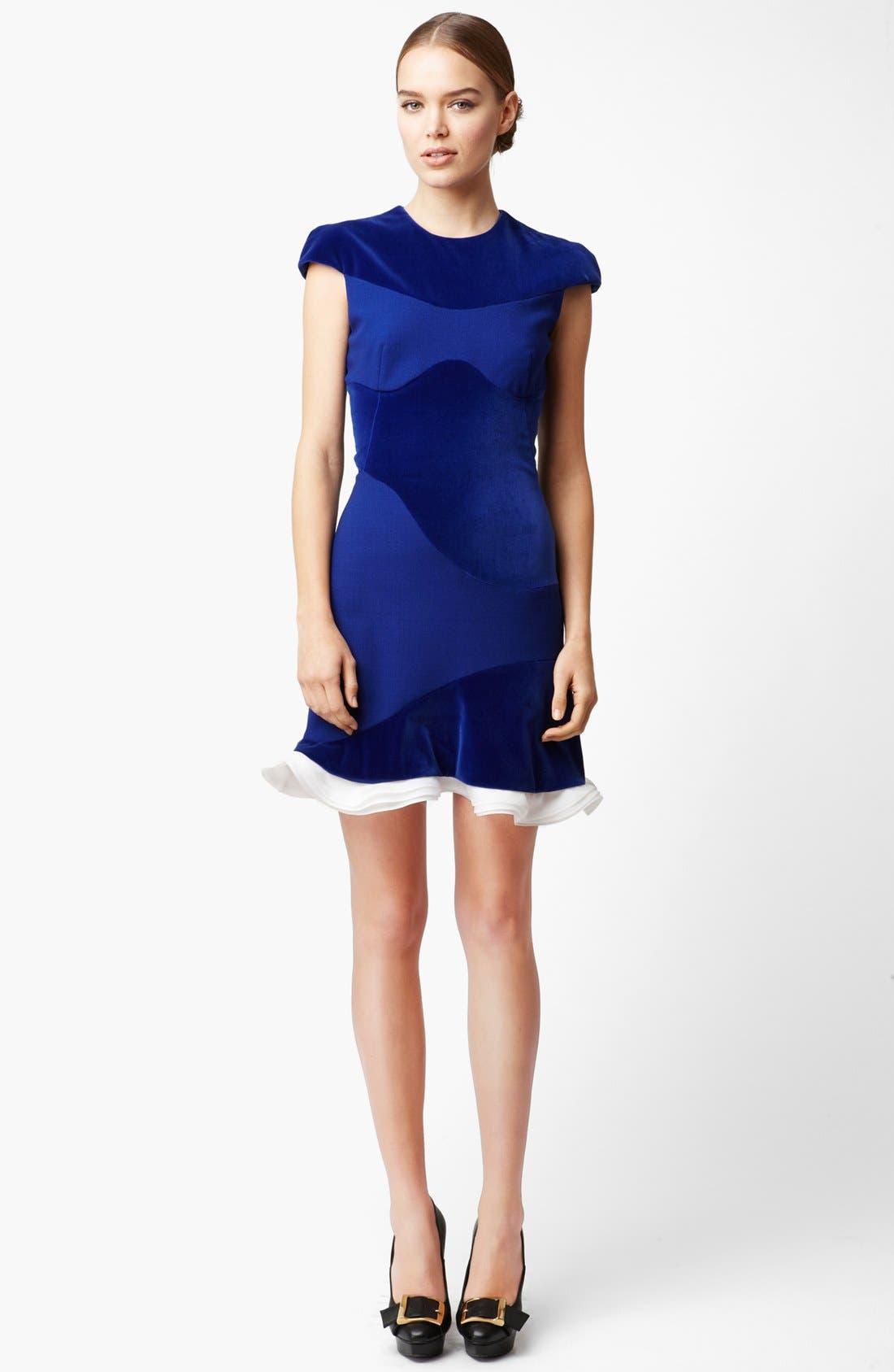 Alternate Image 1 Selected - Alexander McQueen Organza Trim Velvet Dress