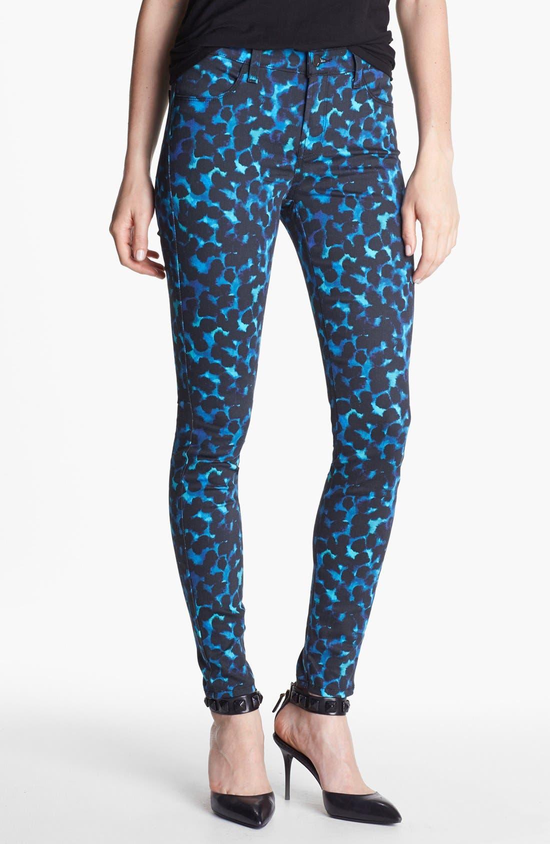 Main Image - J Brand Print Super Skinny Jeans (Indigo Ink)