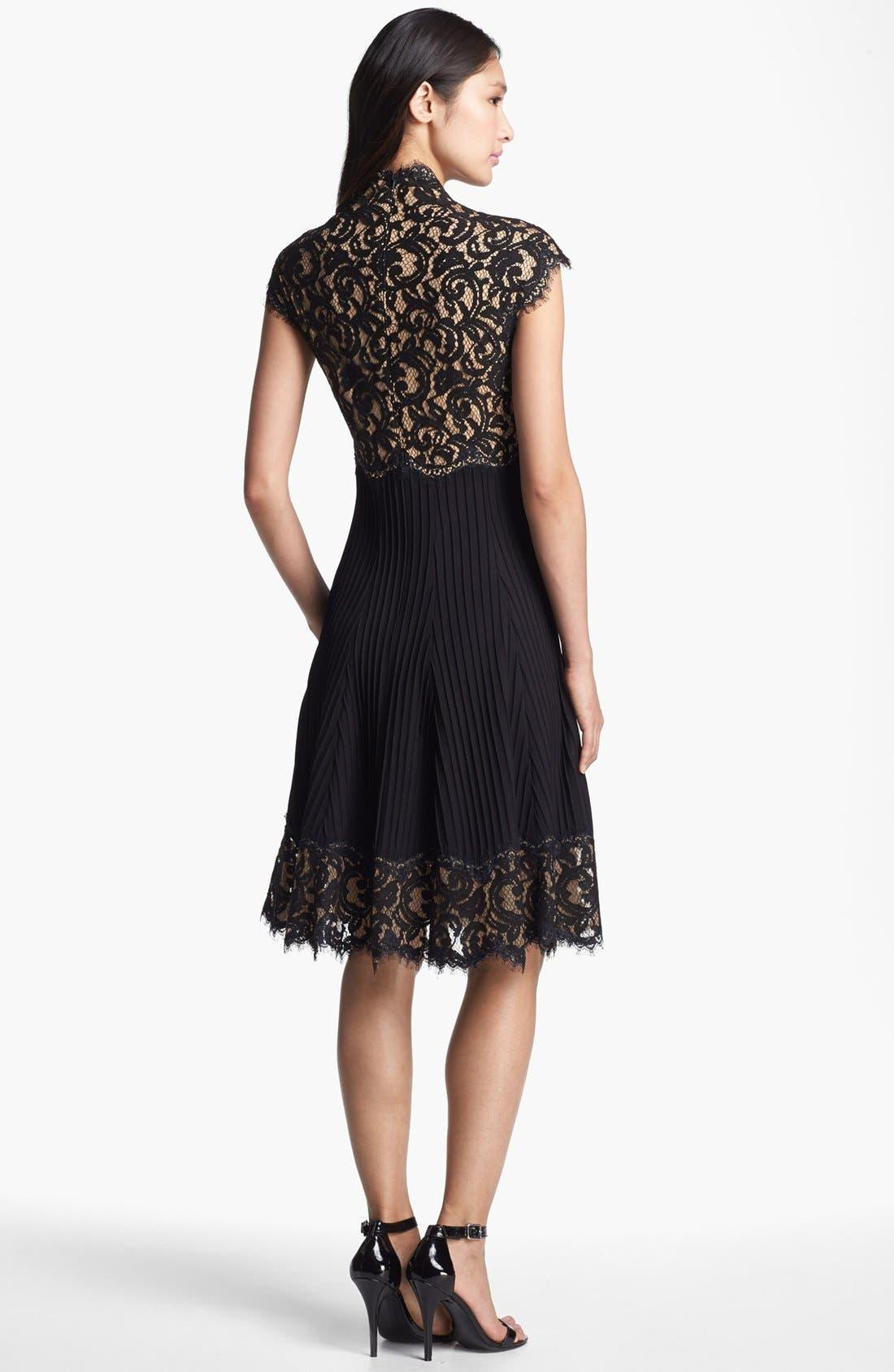 Alternate Image 2  - Tadashi Shoji Mixed Media Fit & Flare Dress