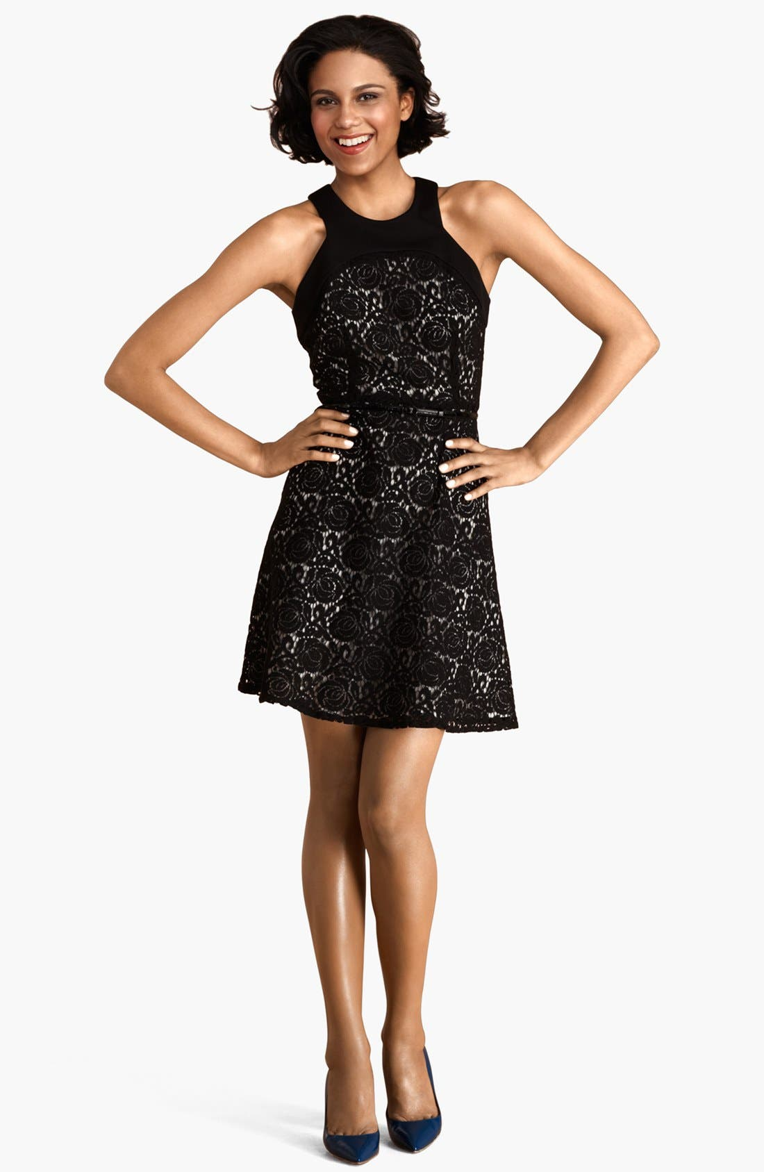 Main Image - Donna Morgan Cutaway Lace Fit & Flare Dress