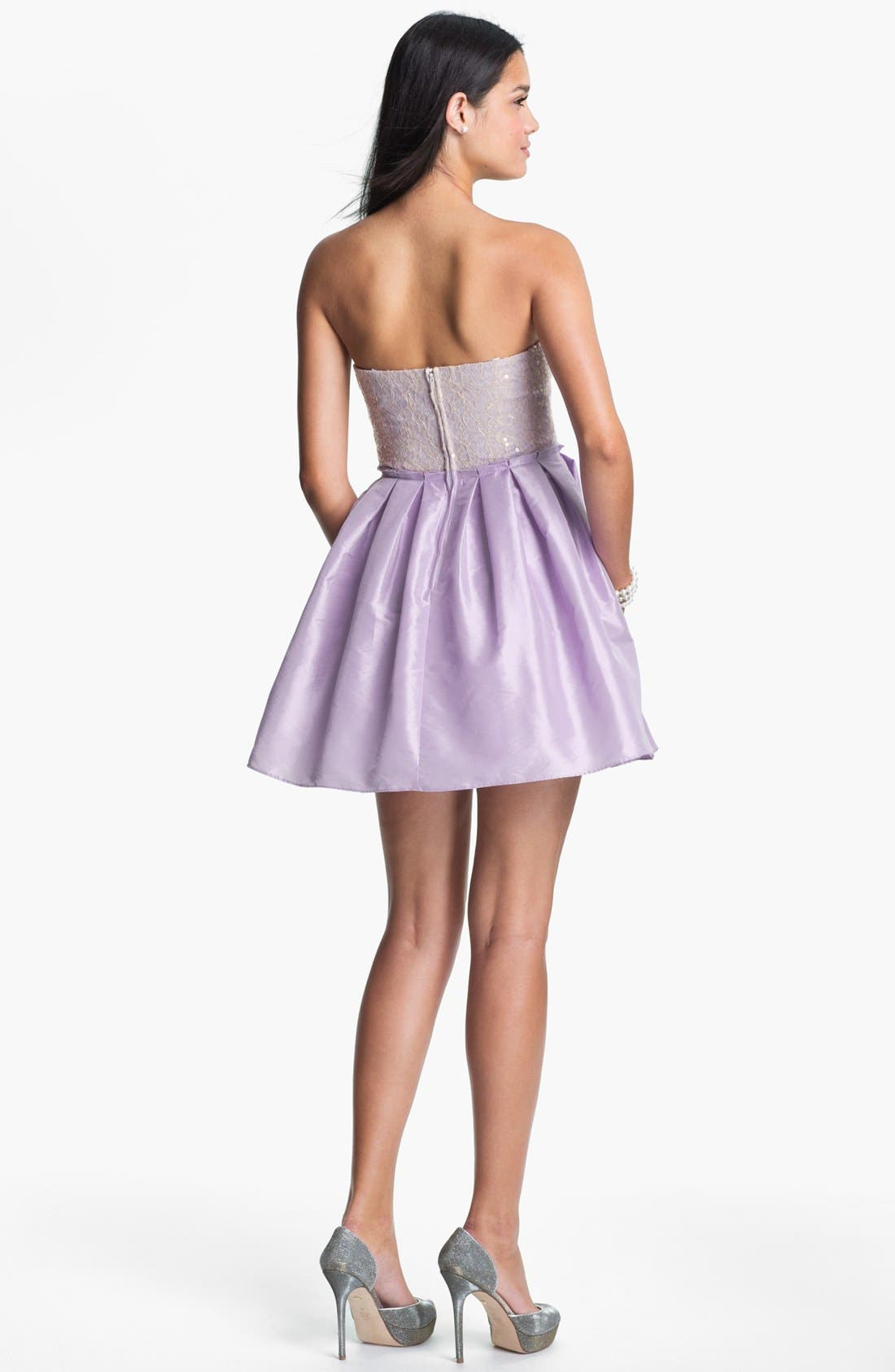 Alternate Image 2  - Way-In Embellished Ballerina Dress (Juniors)