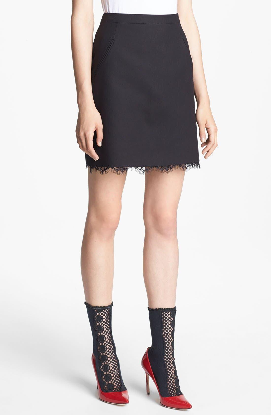 Lace Hem Twill Skirt,                         Main,                         color, Black