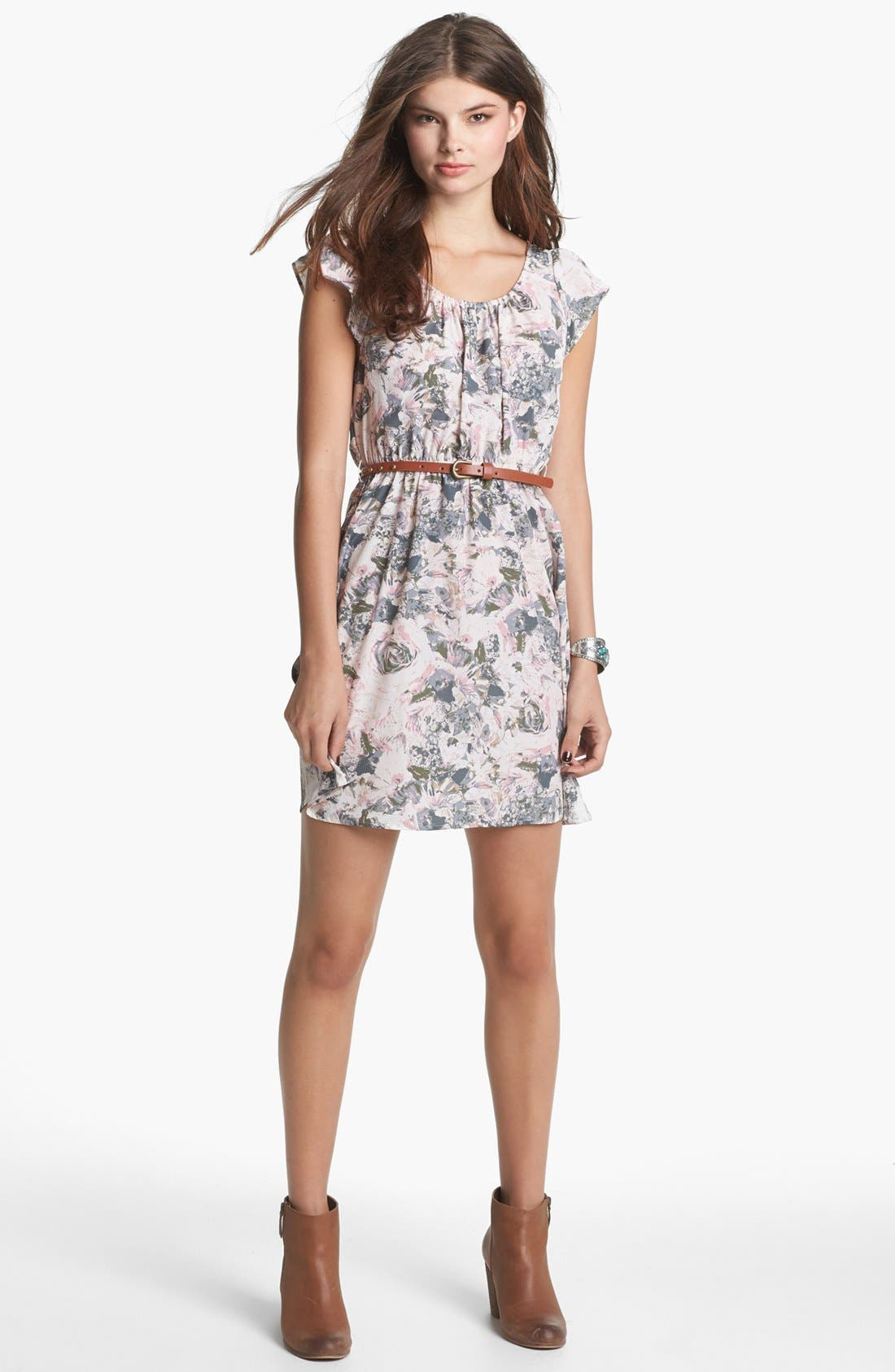 Alternate Image 1 Selected - Socialite Cage Back Floral Print Dress (Juniors) (Online Only)