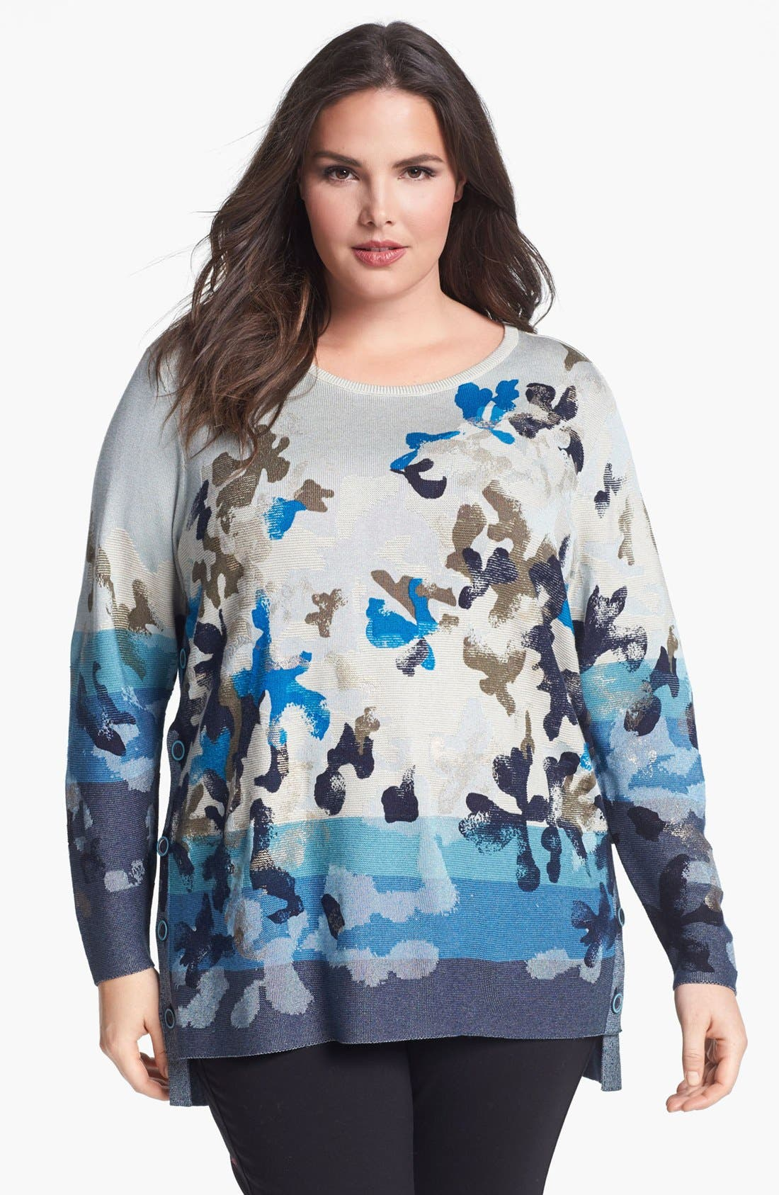 Alternate Image 1 Selected - NIC+ZOE 'Bloomed' Side Button Sweater (Plus Size)