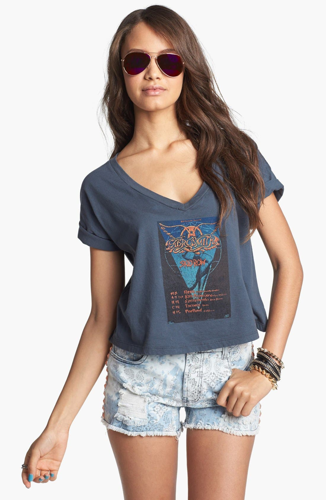 Alternate Image 1 Selected - Retro Brand 'Aerosmith' Crop Tee (Juniors) (Online Only)