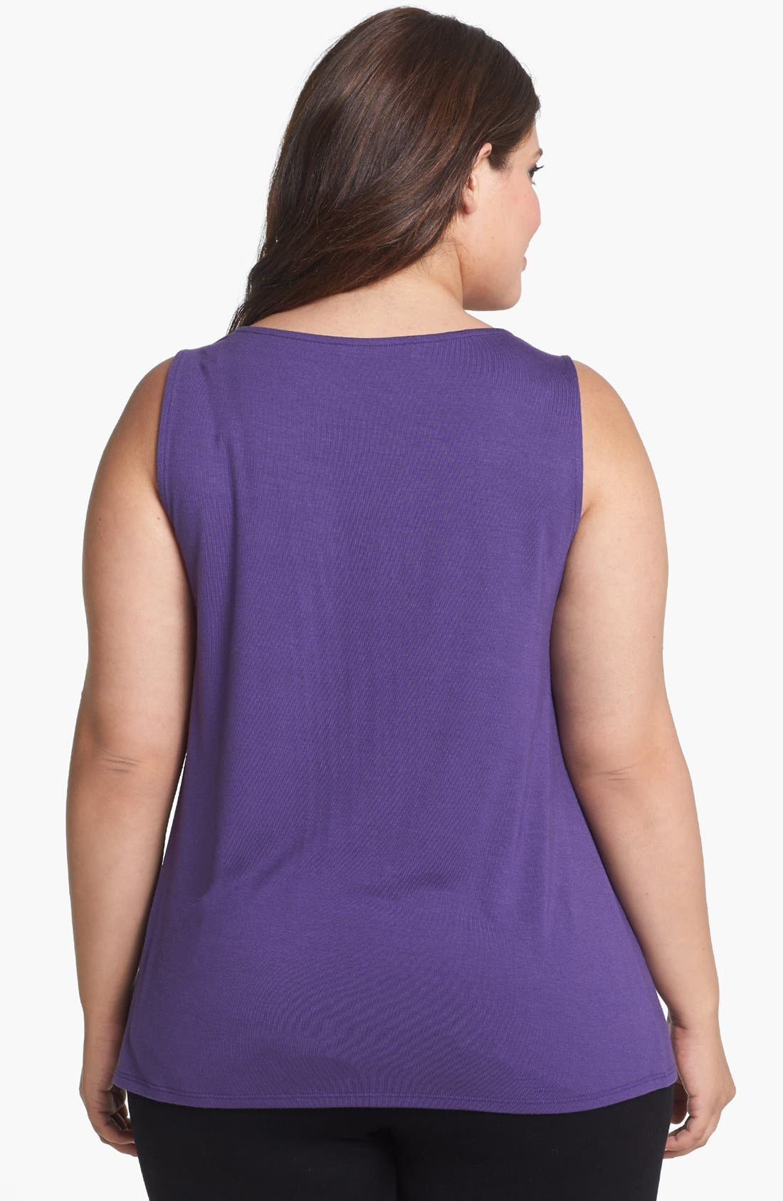 Alternate Image 2  - Sejour Sleeveless Jersey Top (Plus Size)