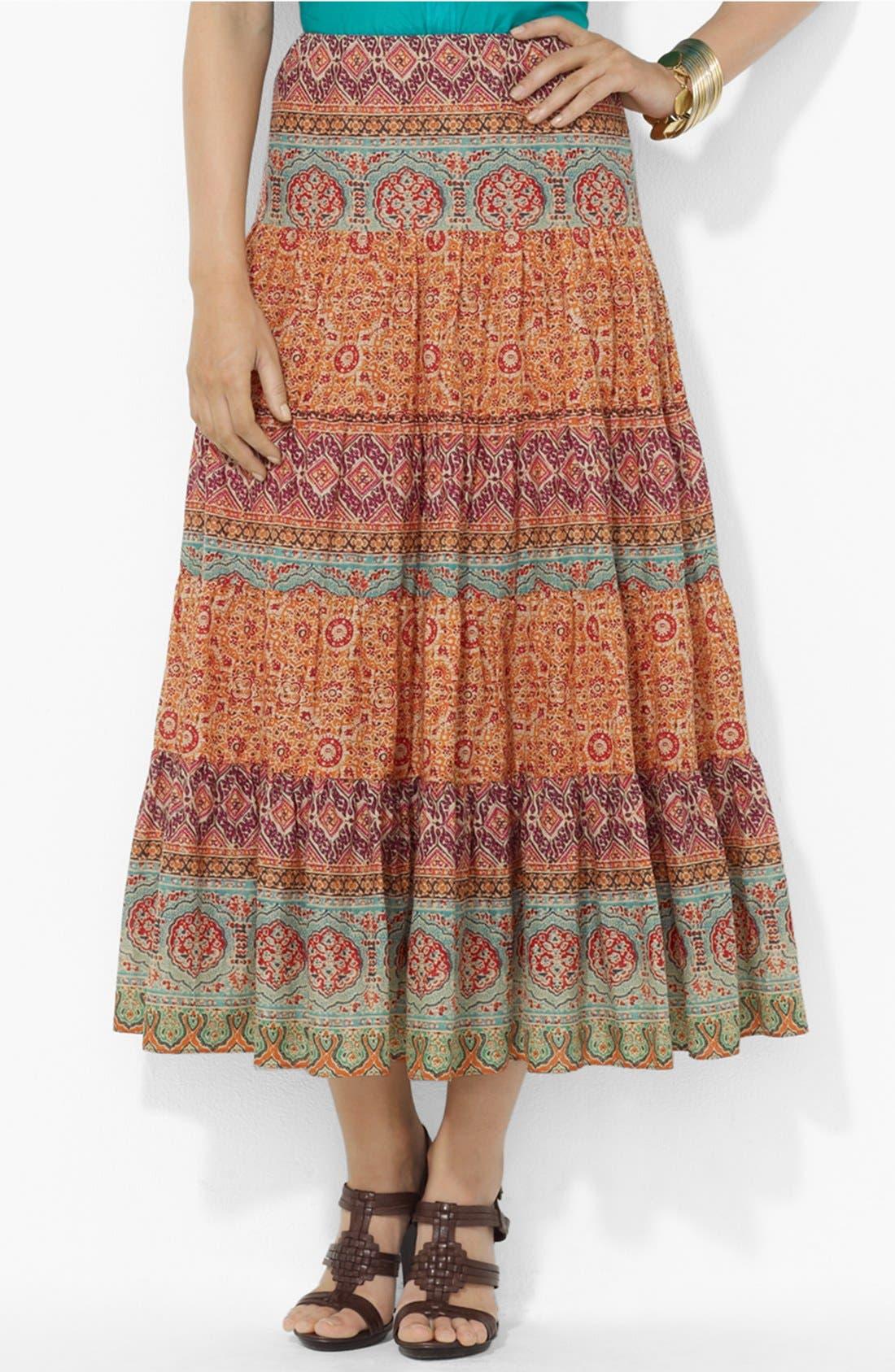Main Image - Lauren Ralph Lauren Tiered Midi Skirt