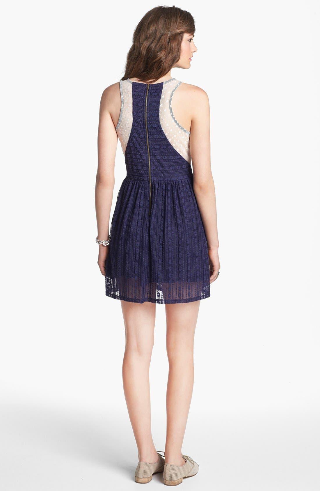 Alternate Image 2  - Robin K Lace Illusion Skater Dress (Juniors)