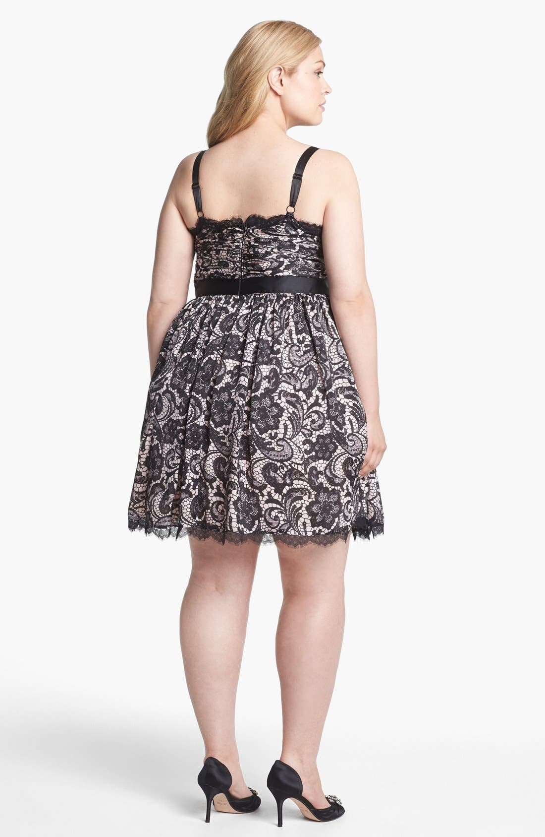 Alternate Image 2  - Adrianna Papell Lace Print Tulle Fit & Flare Dress (Plus Size)