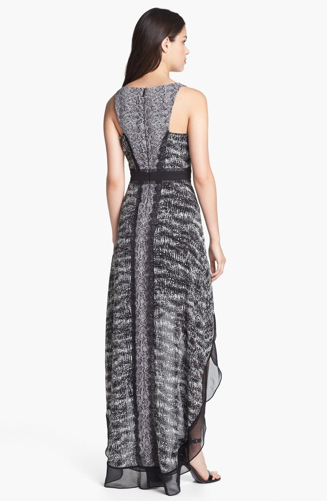 Alternate Image 2  - BCBGMAXAZRIA Mixed Print High/Low Chiffon Dress