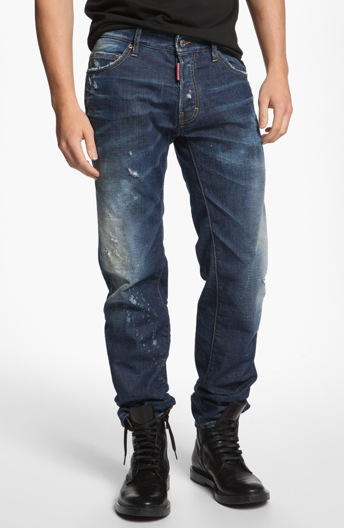 Main Image - Dsquared2 'Dean' Narrow Straight Leg Jeans (Blue)