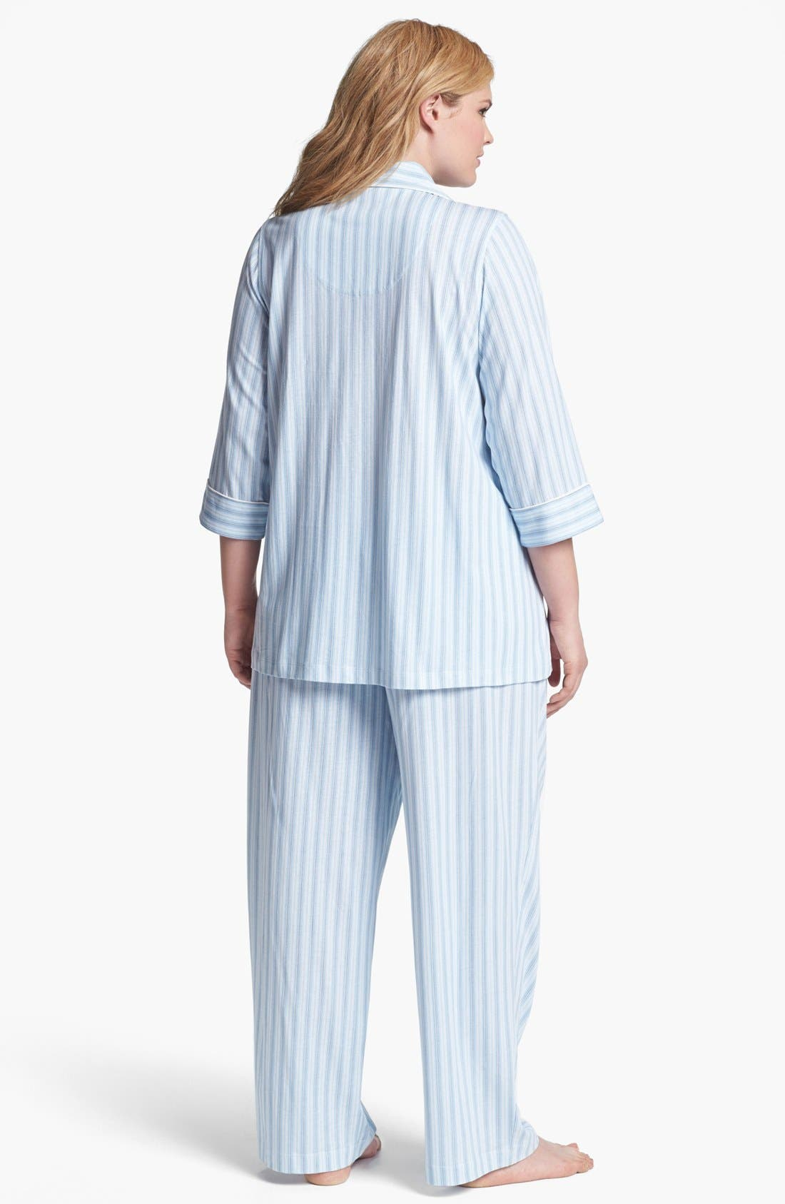 Alternate Image 2  - Lauren Ralph Lauren Stripe Knit Pajamas (Plus Size)