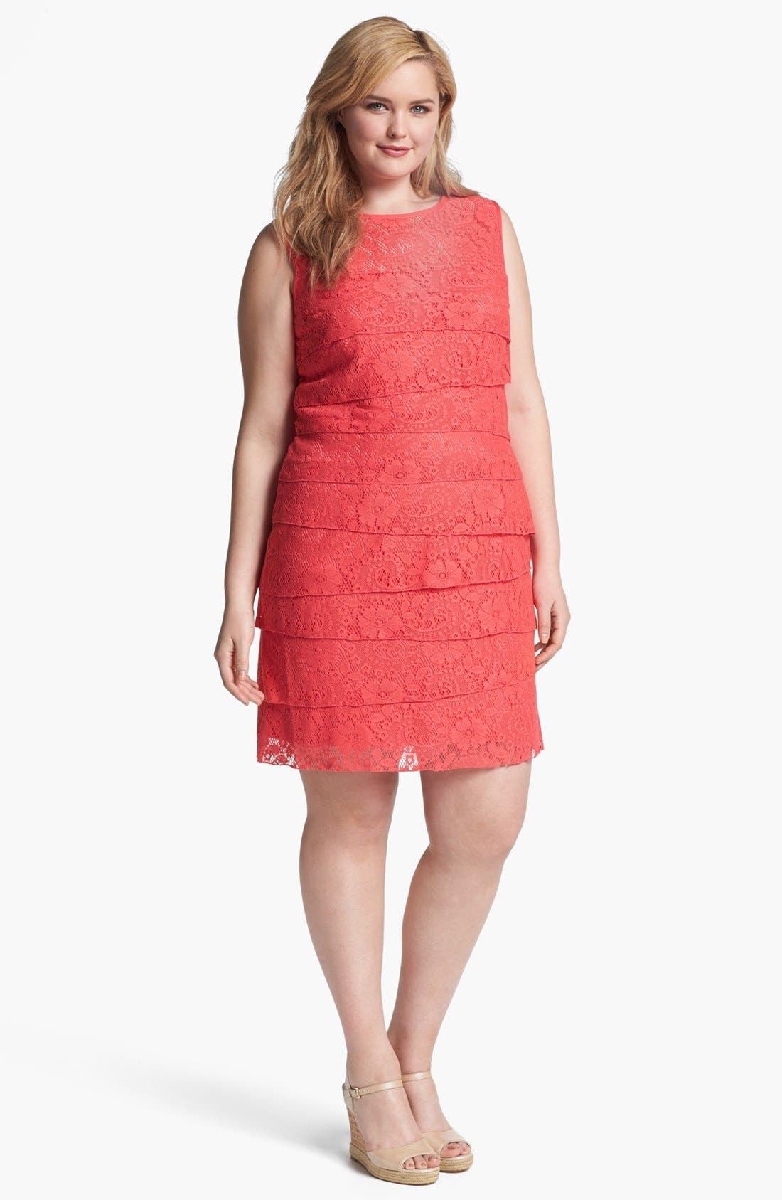 Alternate Image 1 Selected - Eliza J Lace Shutter Pleat Dress (Plus Size)
