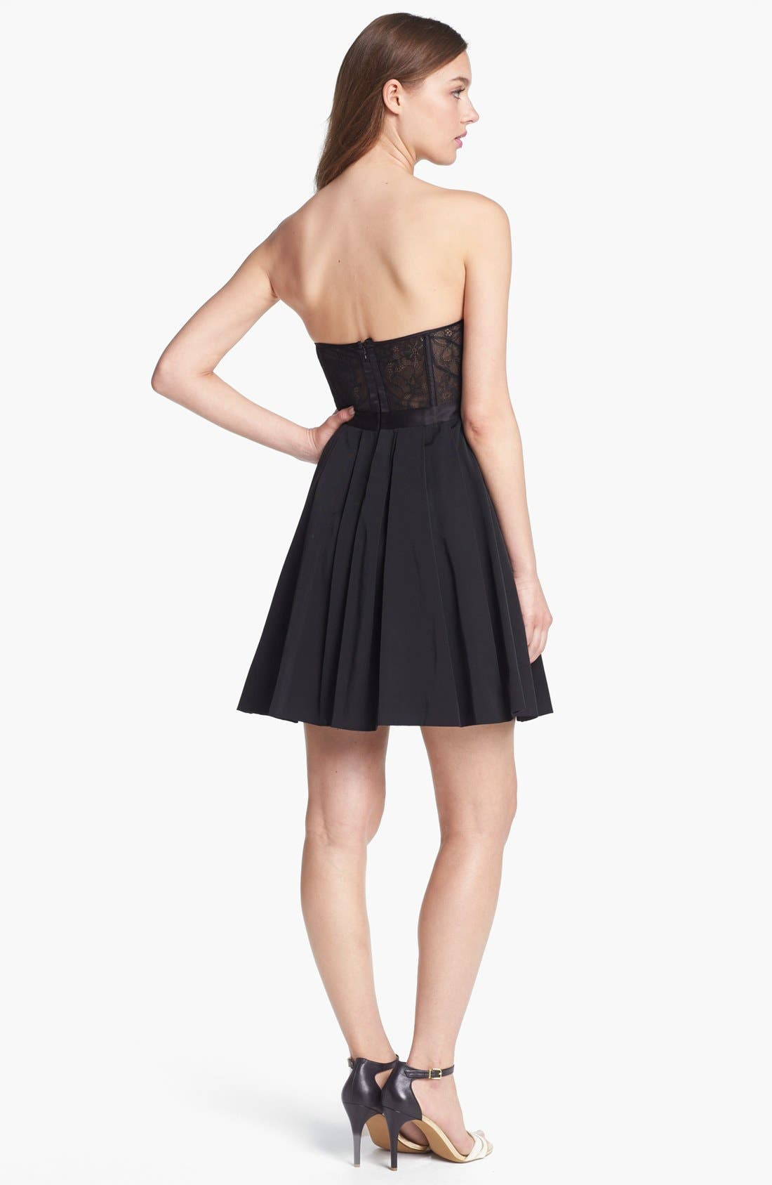 Alternate Image 2  - Max & Cleo Strapless Lace Inset Fit & Flare Dress