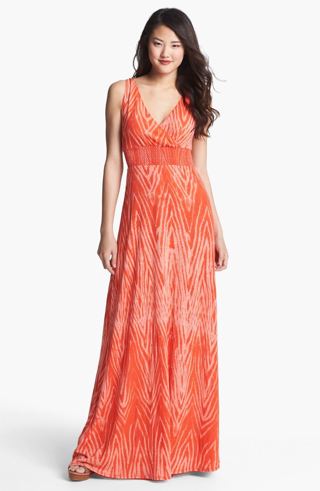 Alternate Image 1 Selected - Lucky Brand V-Neck Print Maxi Dress