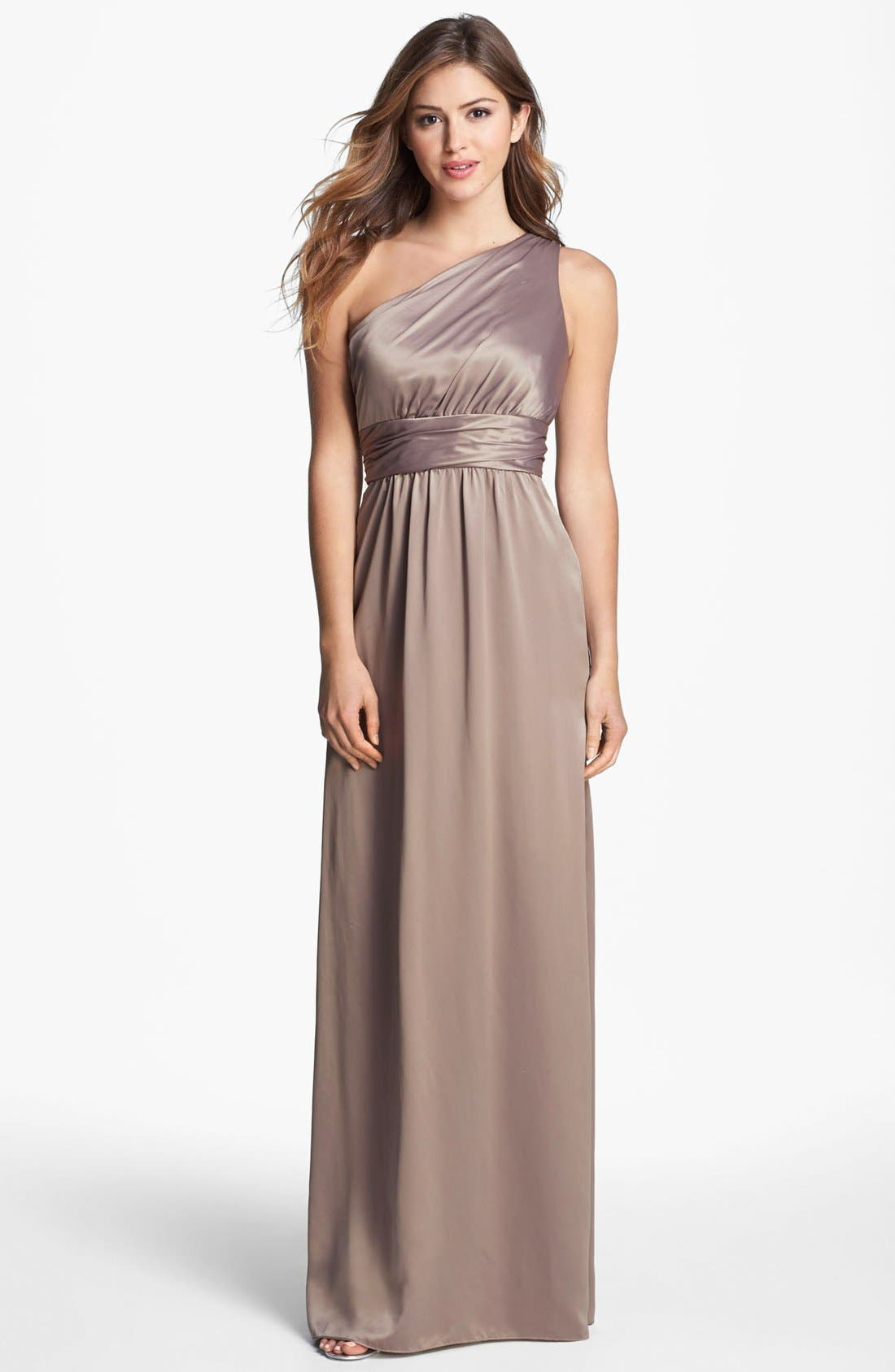 Alternate Image 1 Selected - Amsale One Shoulder Charmeuse Gown