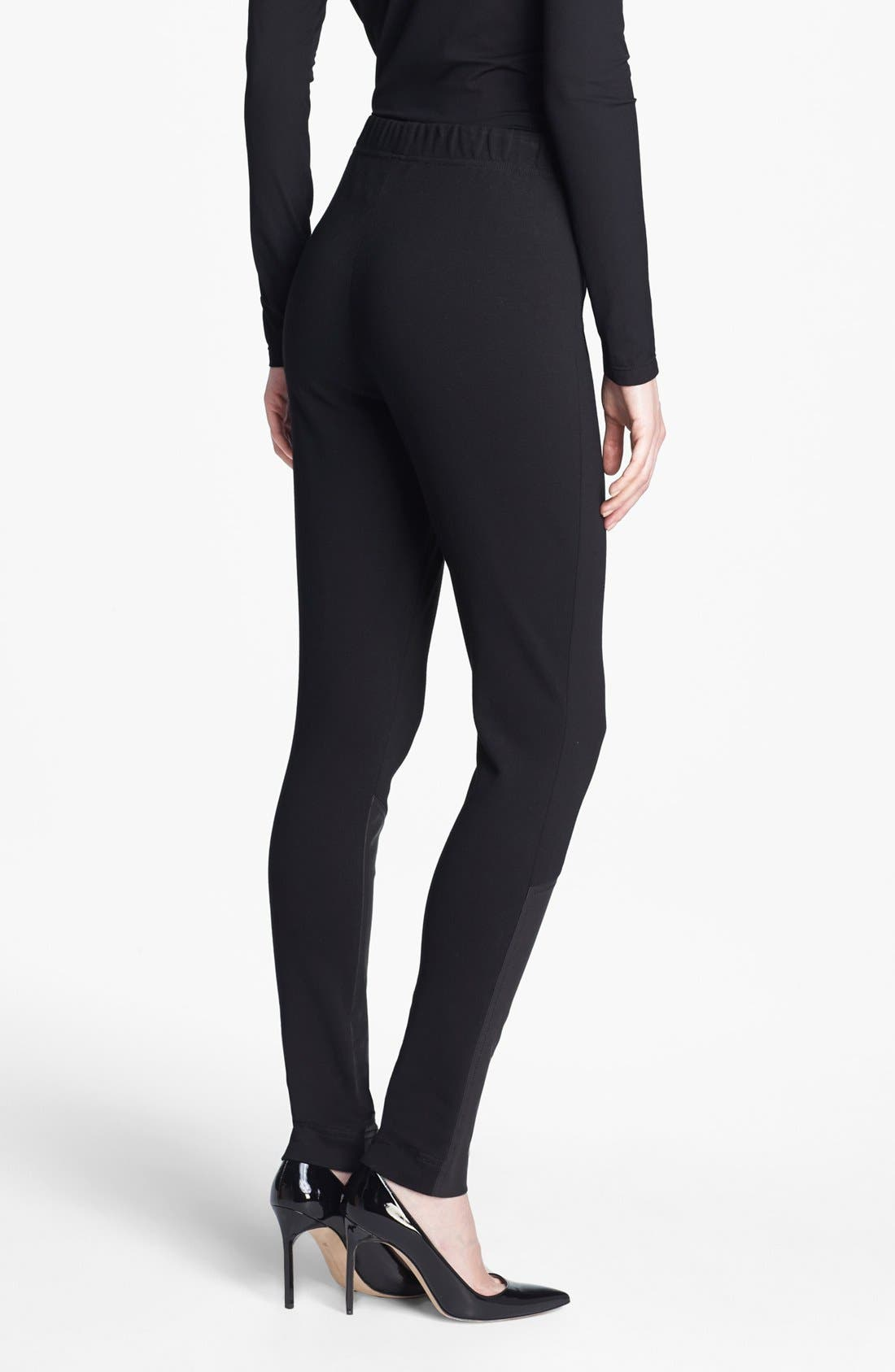 Alternate Image 3  - St. John Collection Leather Accent Ponte Knit Leggings