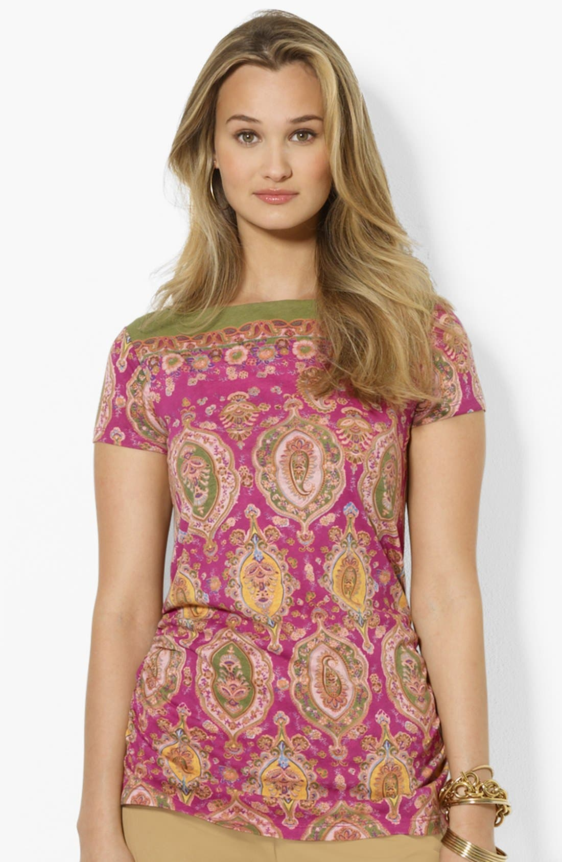 Alternate Image 1 Selected - Lauren Ralph Lauren Boatneck Print Top (Petite)