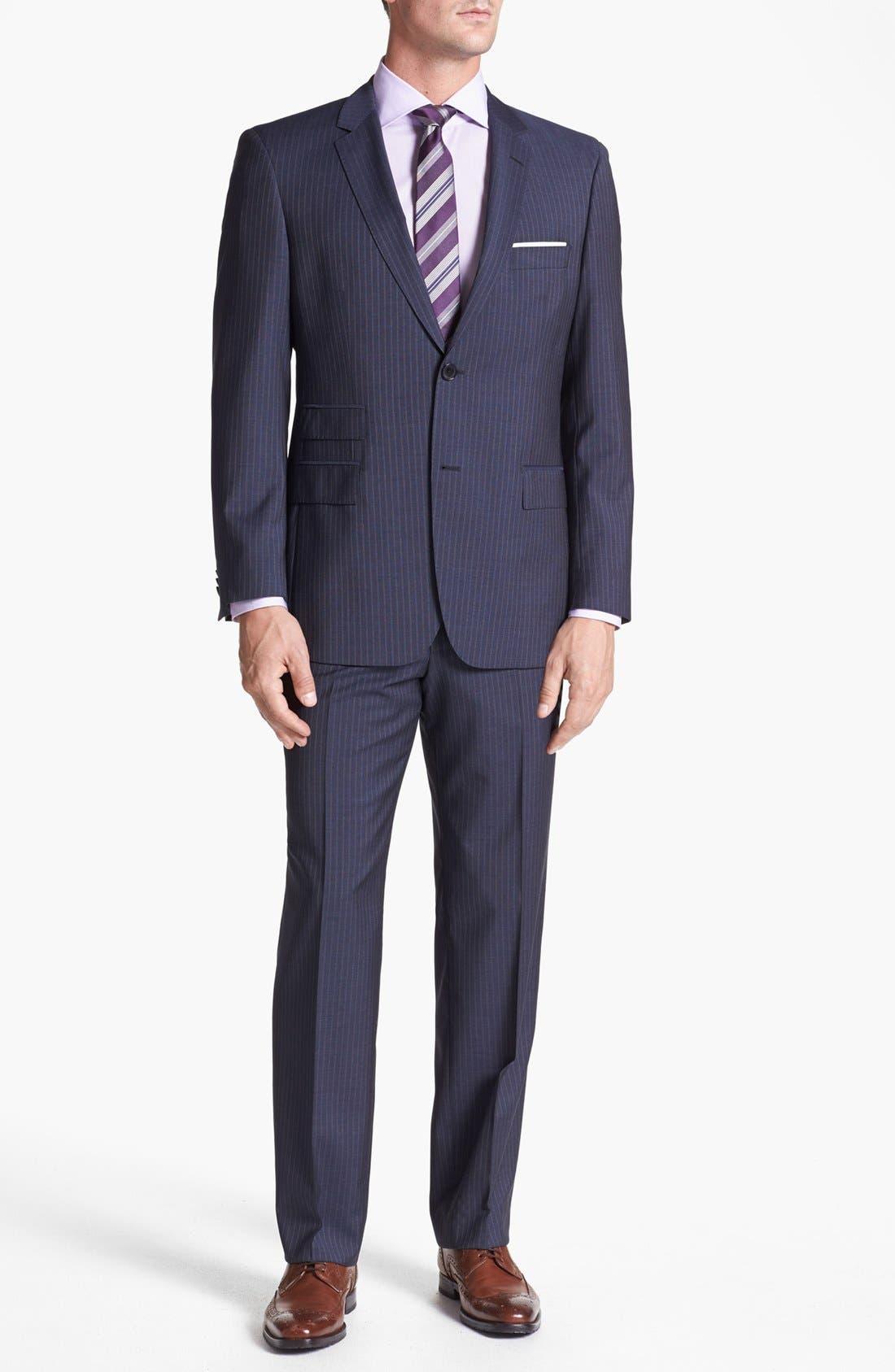 Alternate Image 1 Selected - BOSS HUGO BOSS 'Edison/Power' Classic Fit Stripe Suit