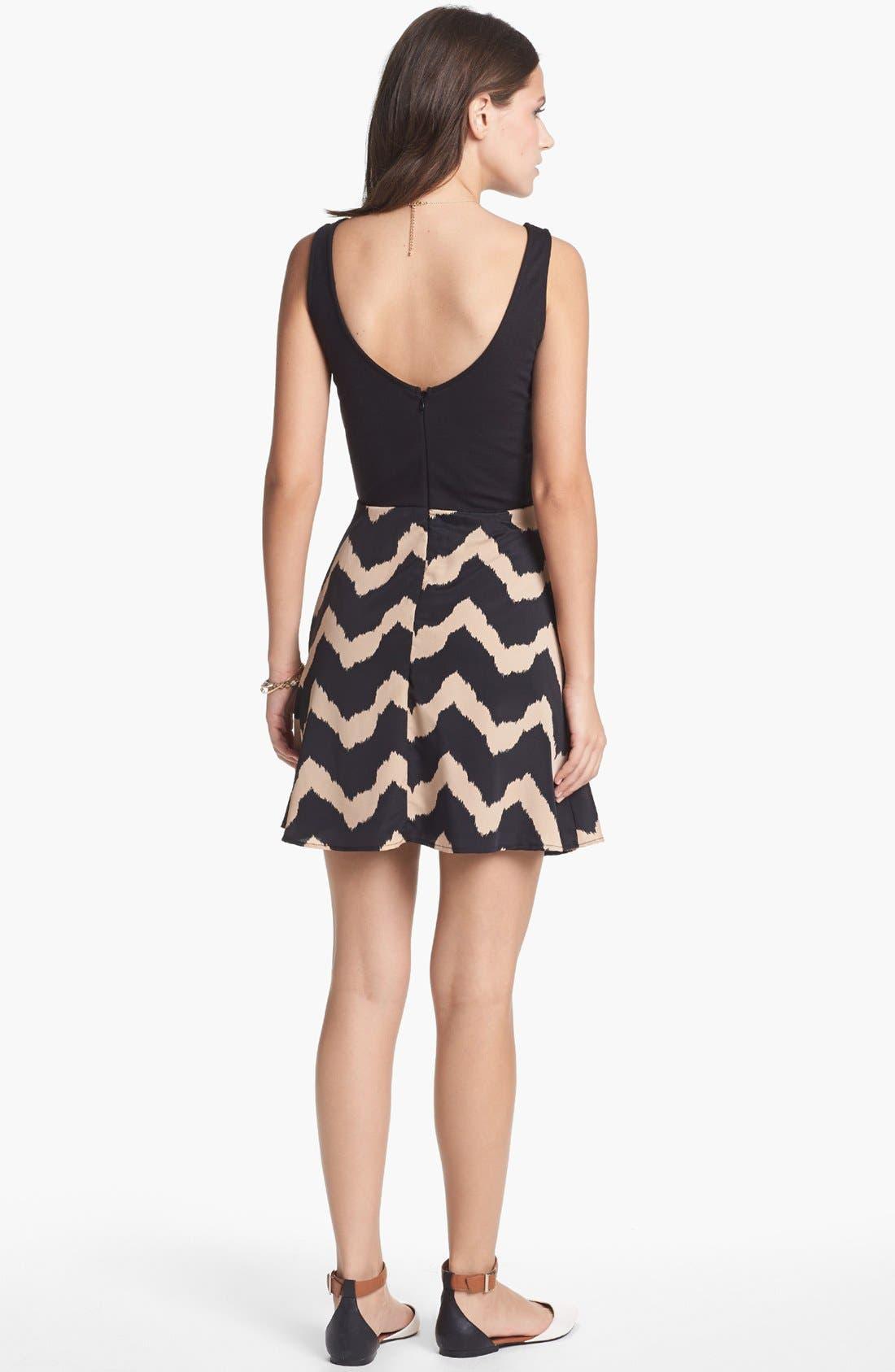 Alternate Image 2  - dee elle Print Fit & Flare Dress (Juniors) (Online Only)