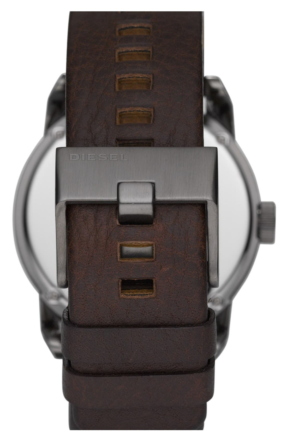 Alternate Image 2  - DIESEL® 'Franchise' Leather Strap Watch, 46mm