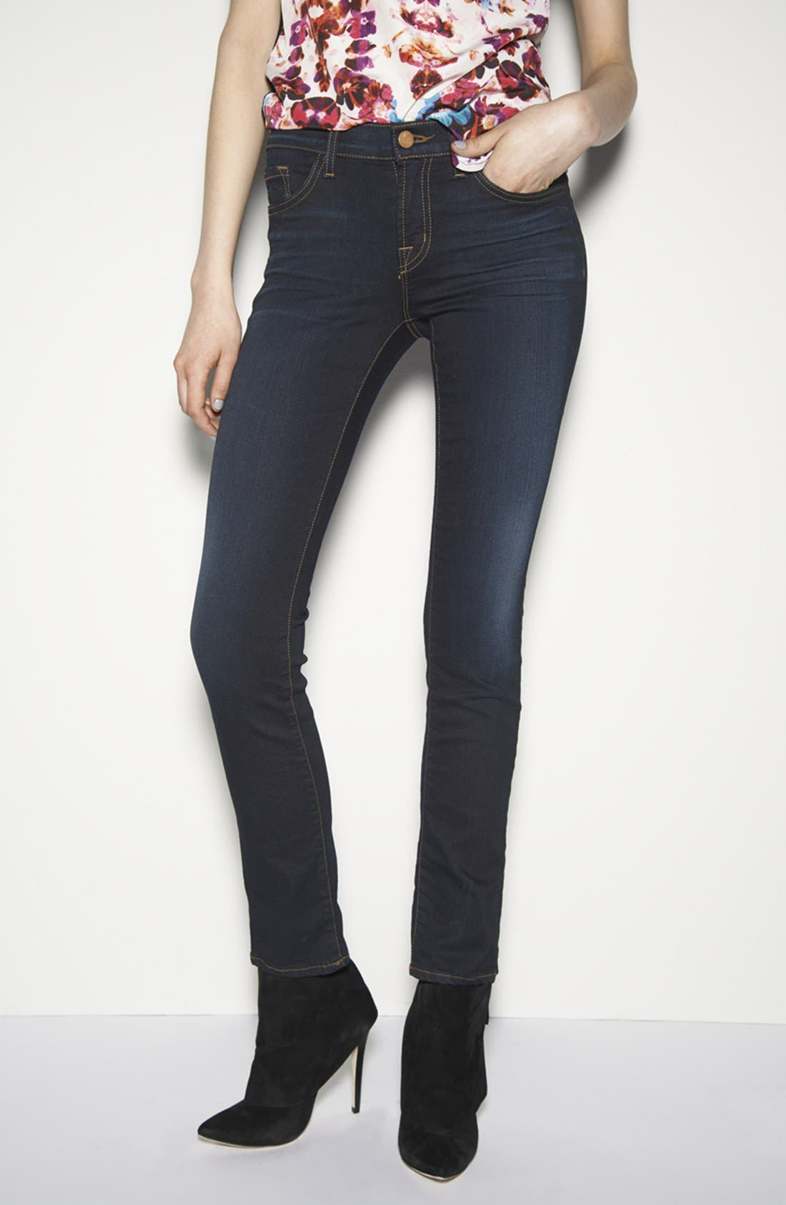 Alternate Image 4  - J Brand '8112 Mid Rise Rail' Skinny Jeans (Atlantis)