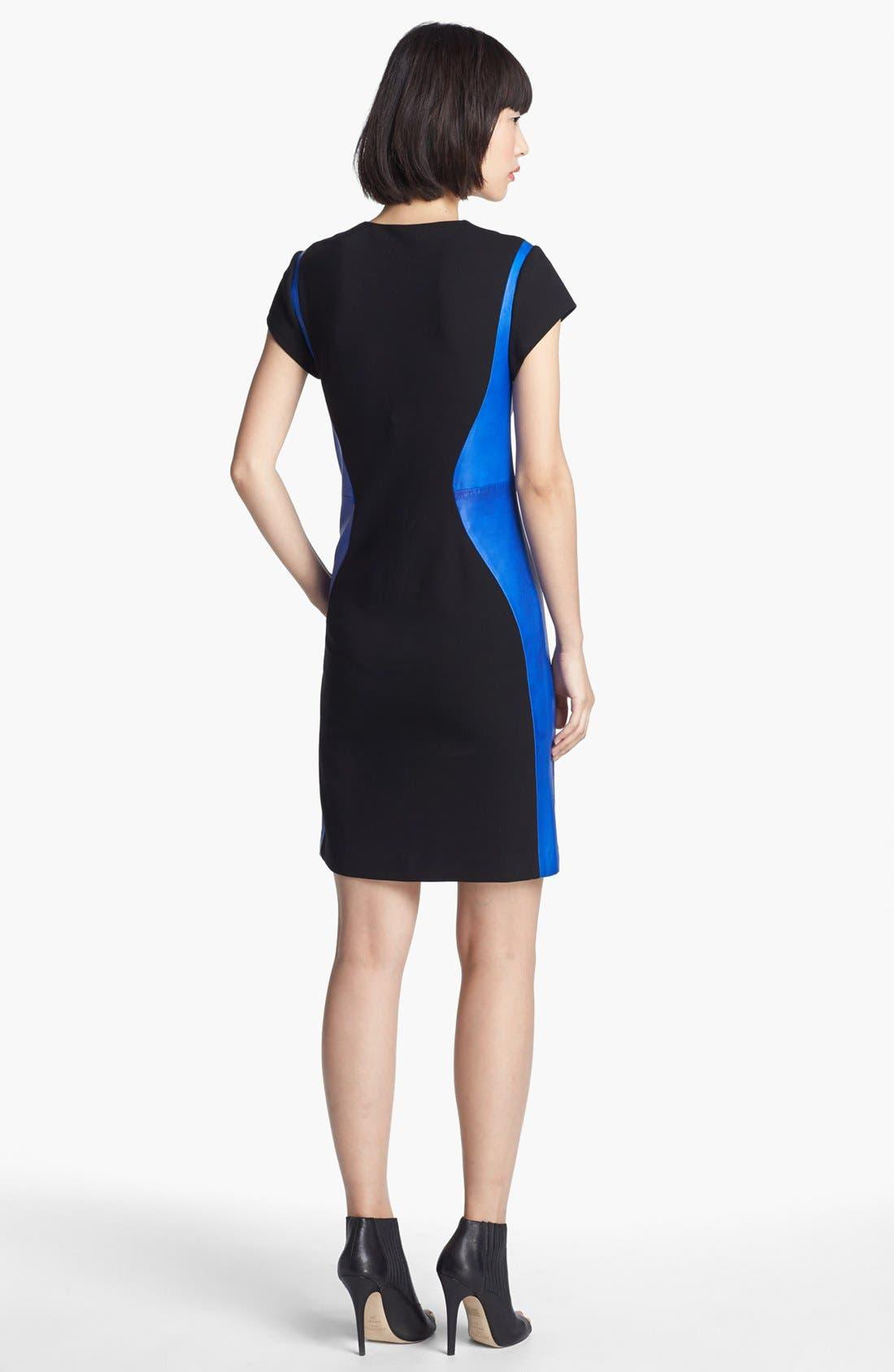 Alternate Image 2  - Diane von Furstenberg 'Dayton' Stretch & Leather Sheath Dress