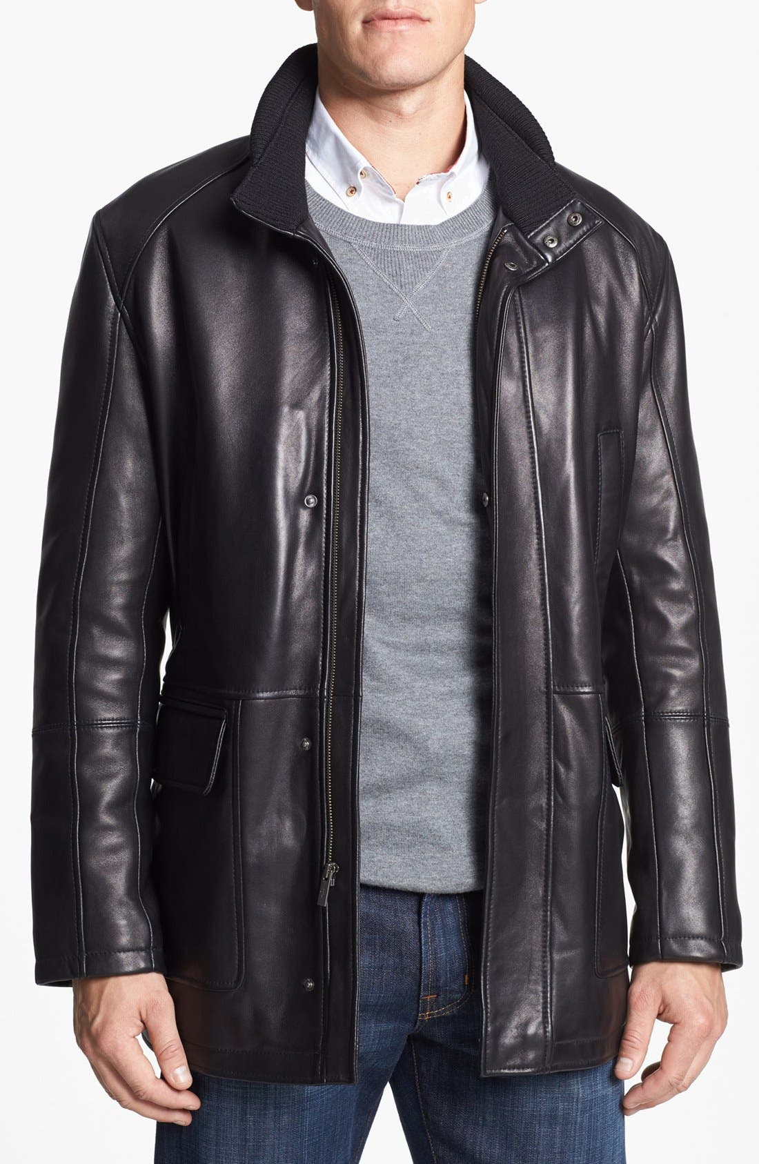 Alternate Image 1 Selected - Cole Haan Lambskin Leather Car Coat