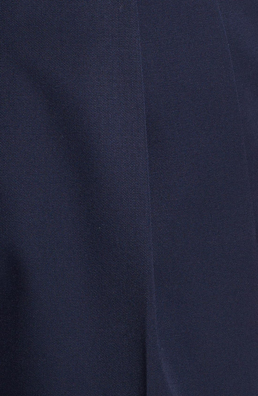 Pleated Super 100s Worsted Wool Trousers,                             Alternate thumbnail 3, color,                             Navy
