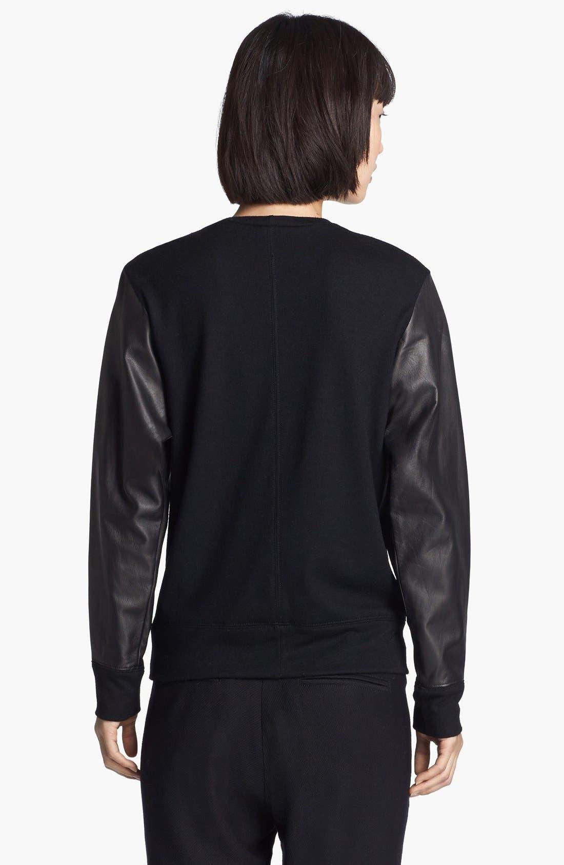 Alternate Image 3  - Helmut Lang Leather Sweatshirt