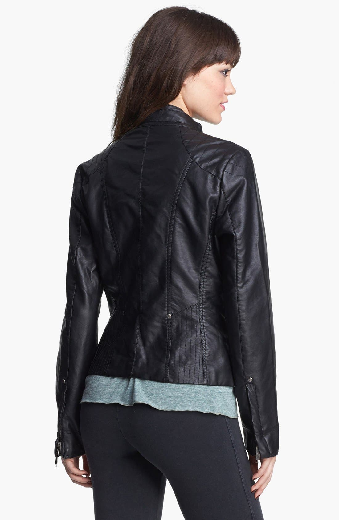 Alternate Image 3  - Jou Jou Zip Front Faux Leather Jacket (Juniors) (Online Only)