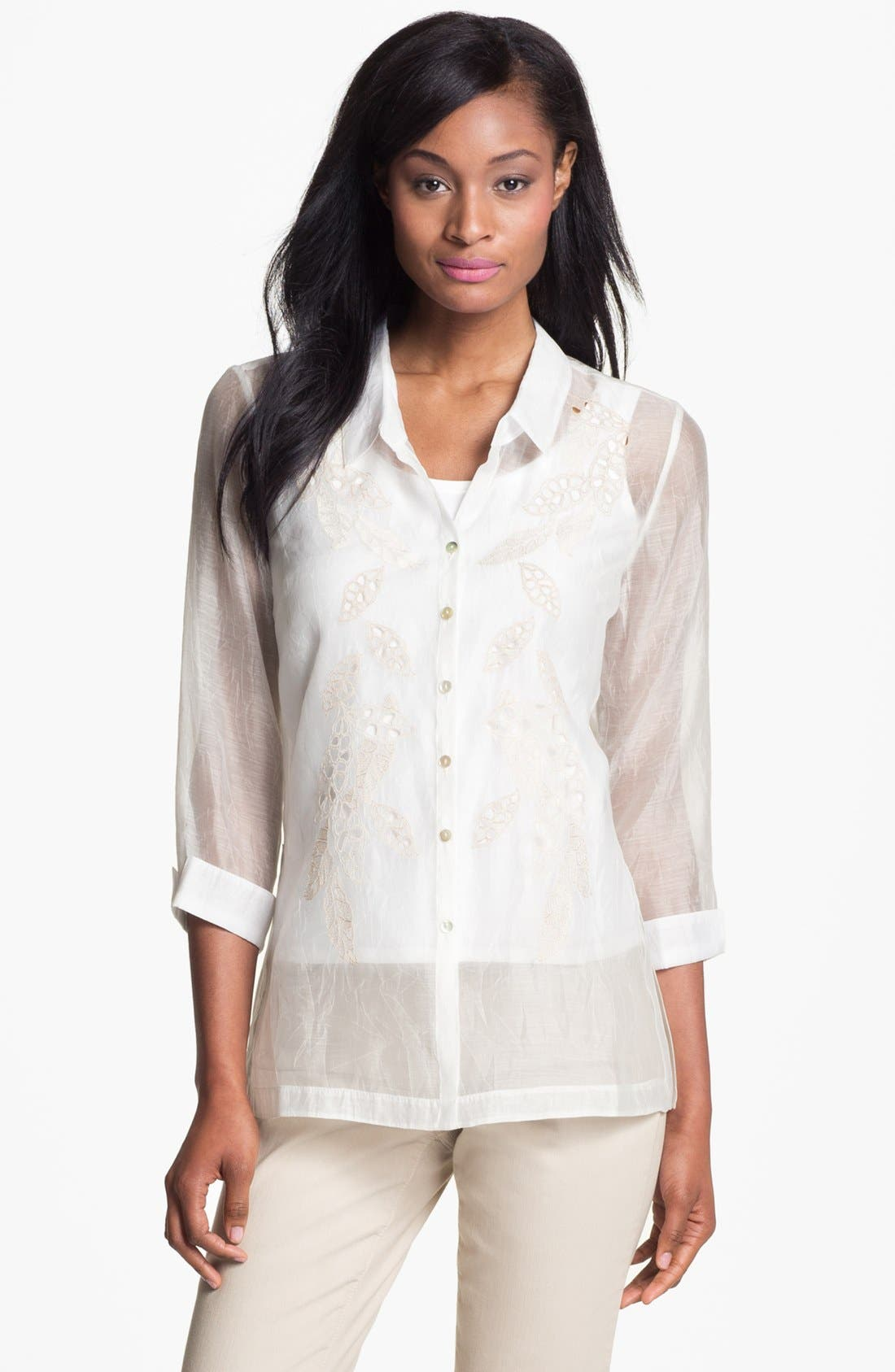 Alternate Image 1 Selected - Nic + Zoe 'Embroidered Shores' Shirt (Petite)