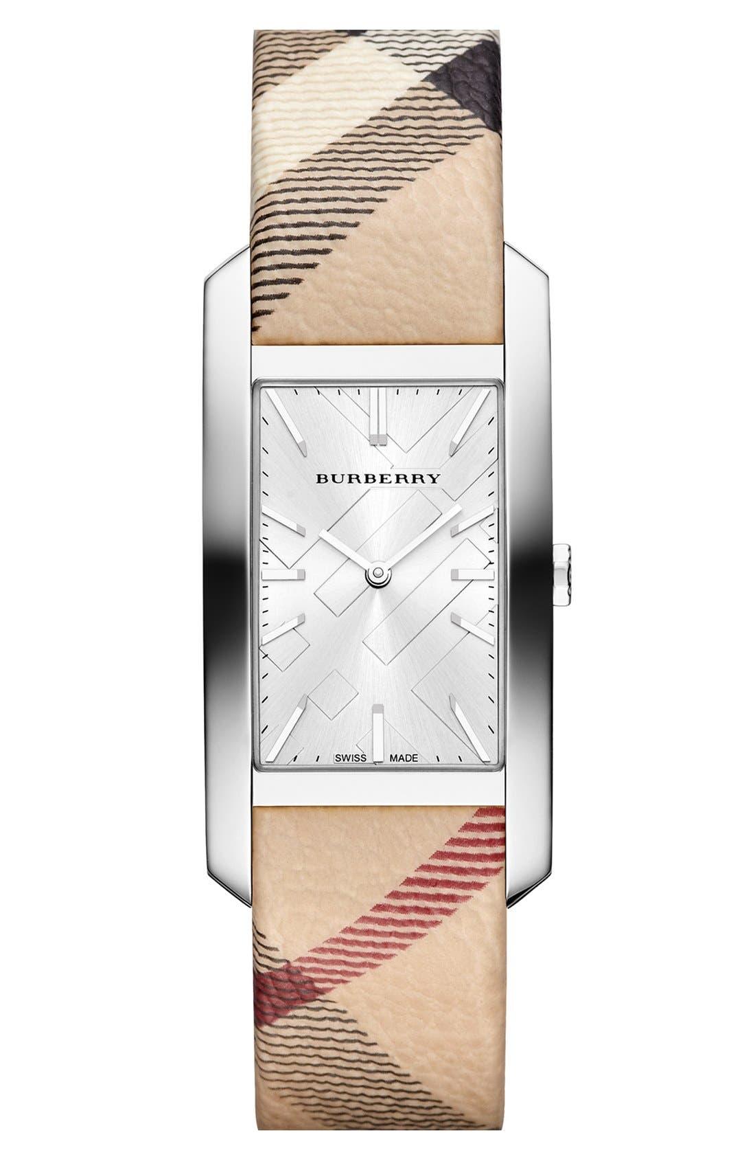 Main Image - Burberry Rectangular Check Strap Watch, 25mm x 33mm