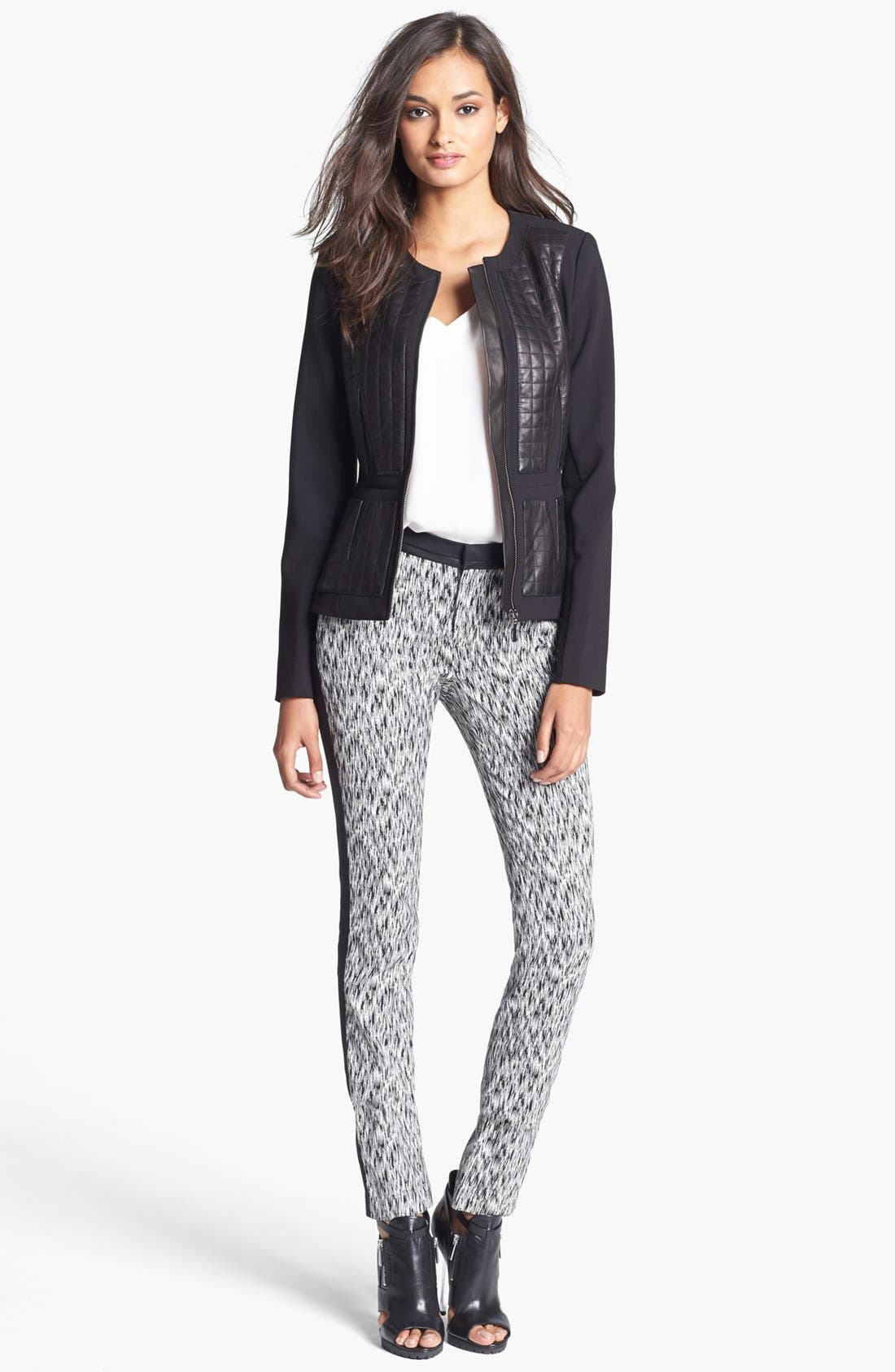 Alternate Image 2  - Rebecca Taylor Leather Panel Jacket