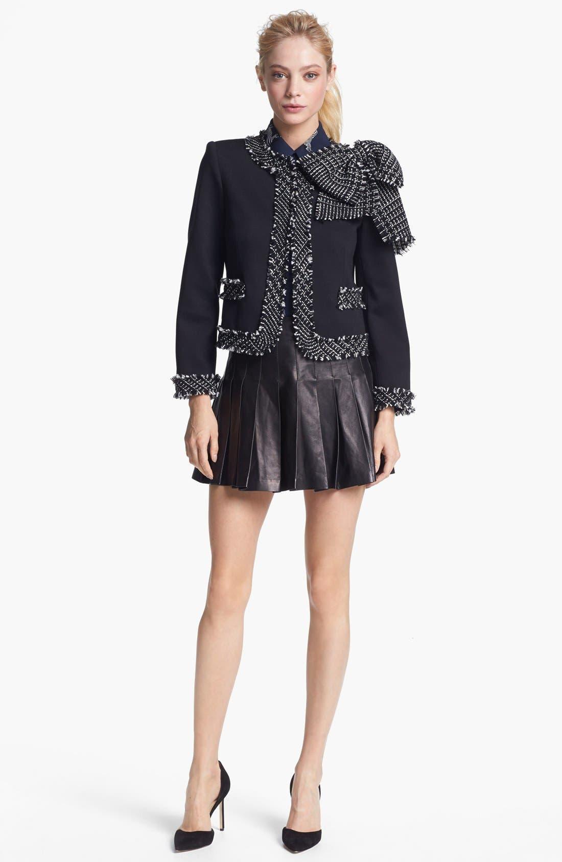Alternate Image 2  - Alice + Olivia Pleated Leather Miniskirt