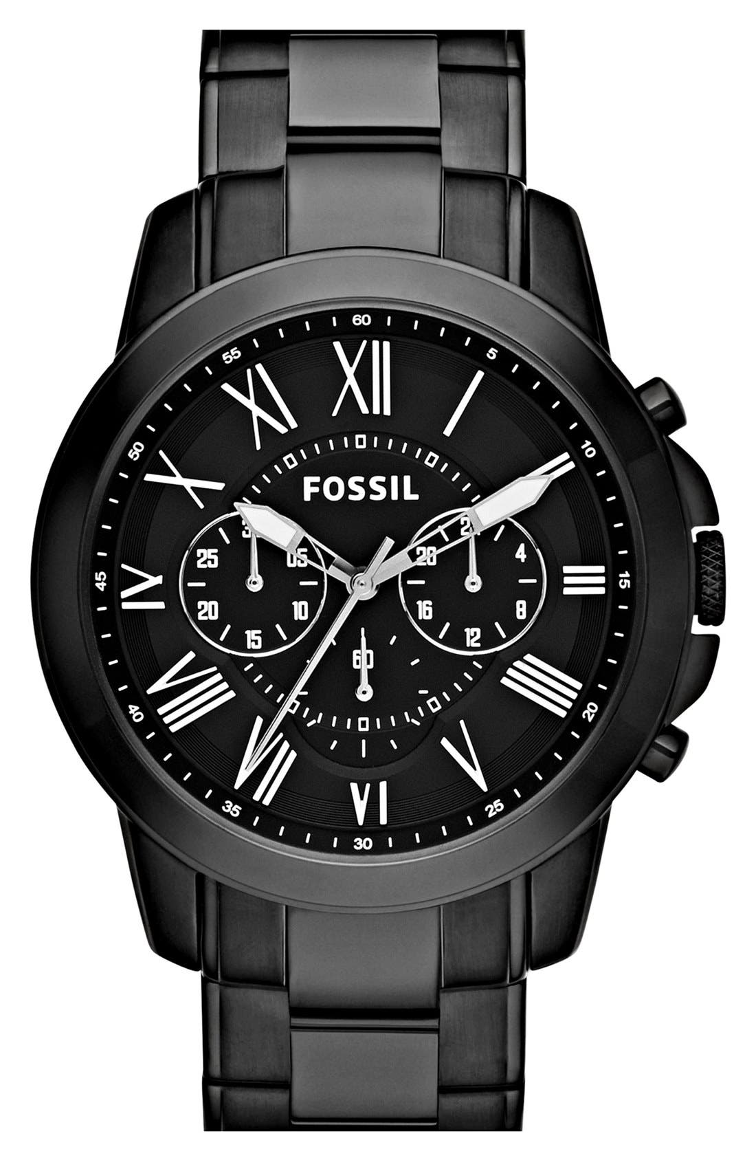 Alternate Image 1 Selected - Fossil 'Grant' Chronograph Bracelet Watch, 44mm