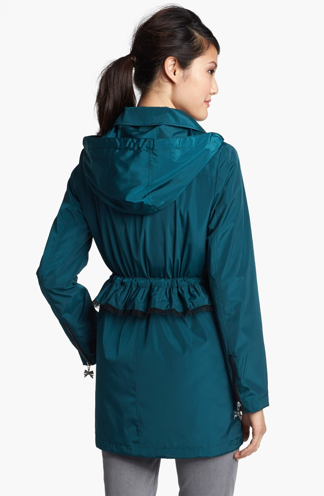 Alternate Image 2  - Betsey Johnson Ruffle Anorak with Detachable Hood (Online Only)