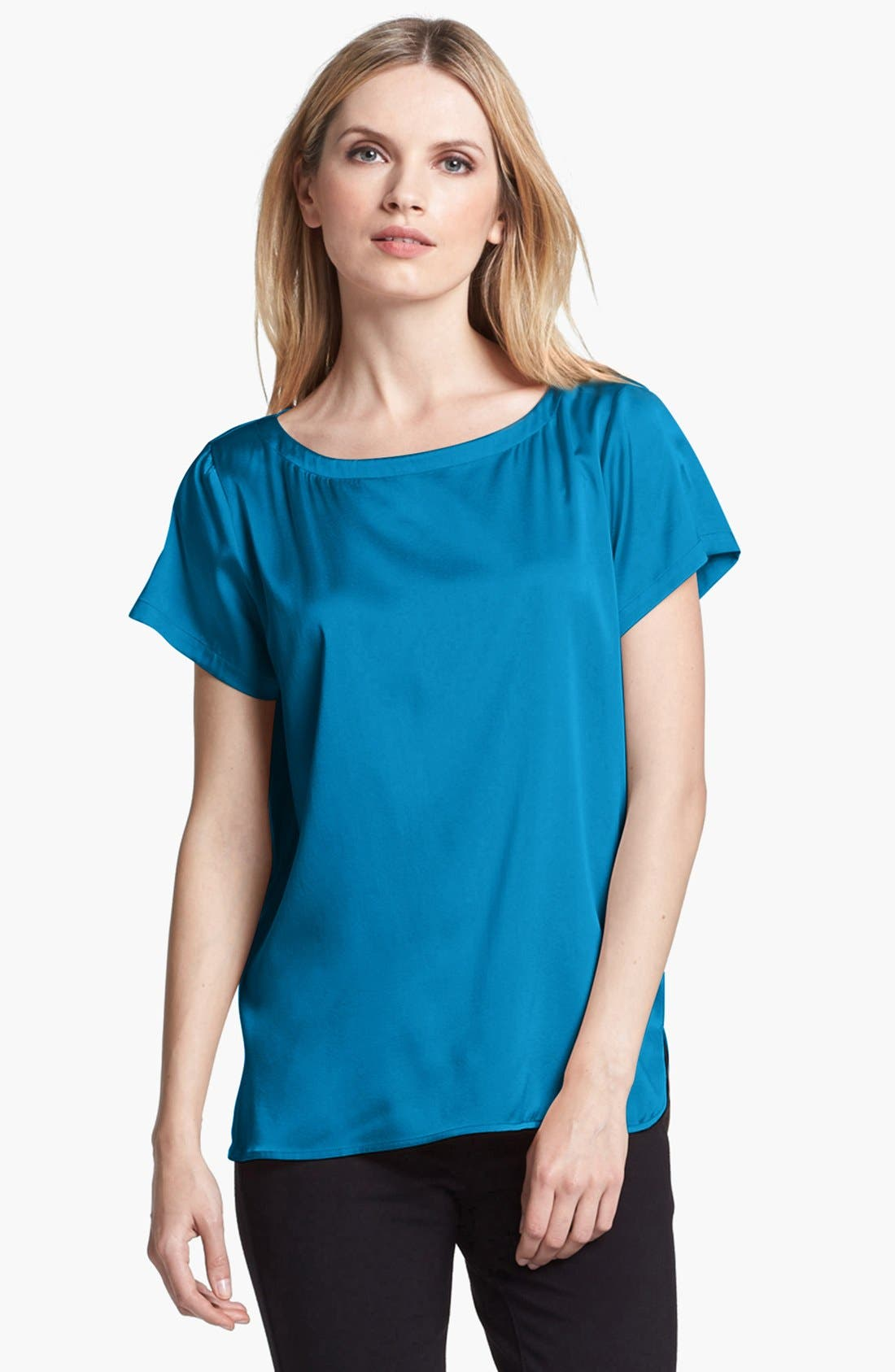 Alternate Image 1 Selected - Eileen Fisher Stretch Silk Charmeuse Blouse