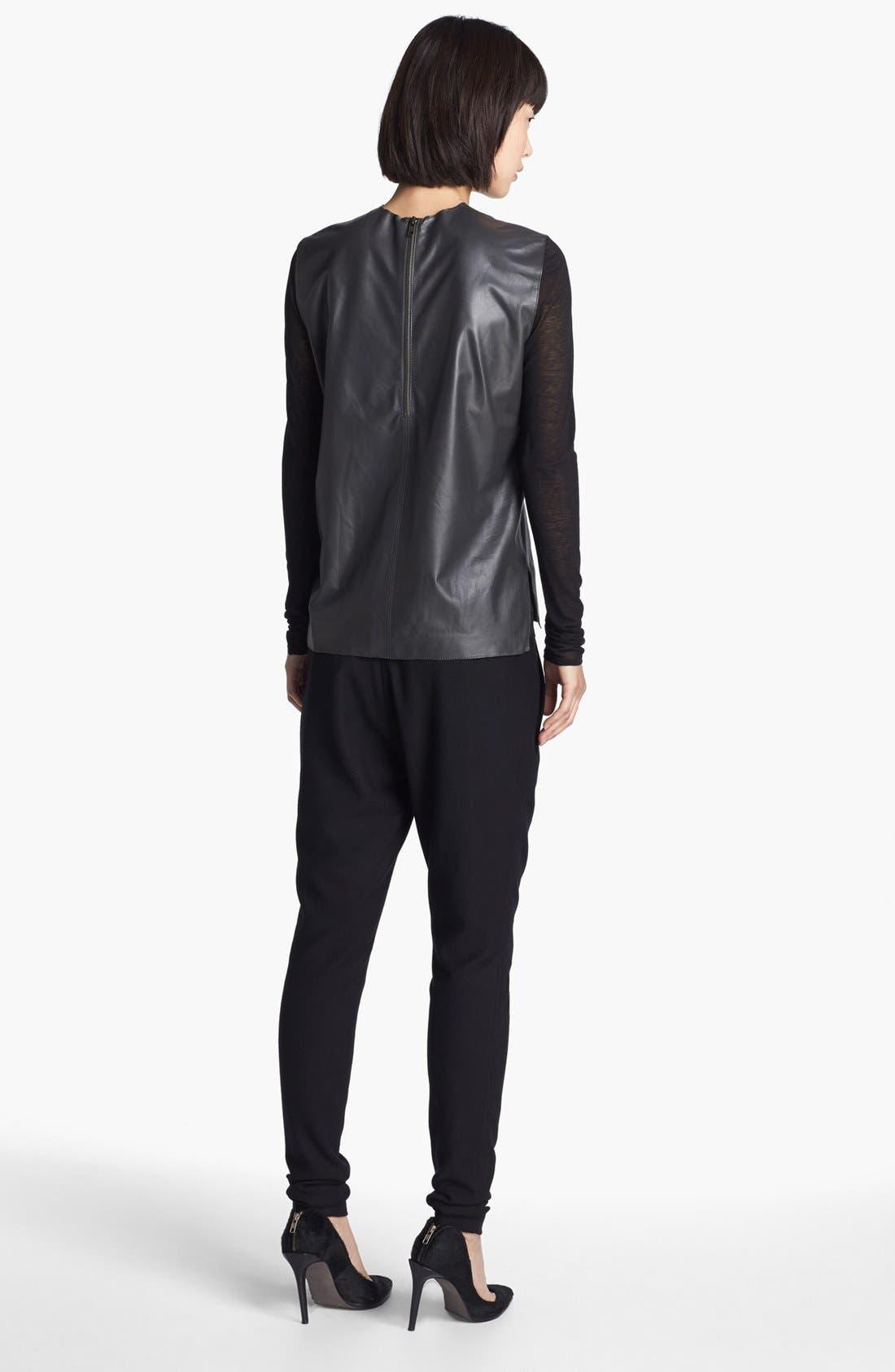 Alternate Image 3  - Helmut Lang Knit Sleeve Leather Top