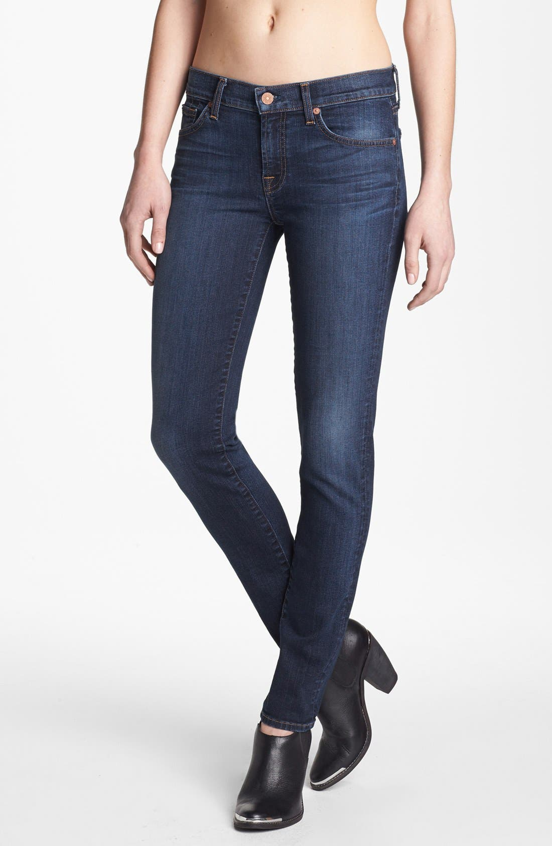 Main Image - 7 For All Mankind® 'The Slim Cigarette' Stretch Jeans (Camilo Blue)