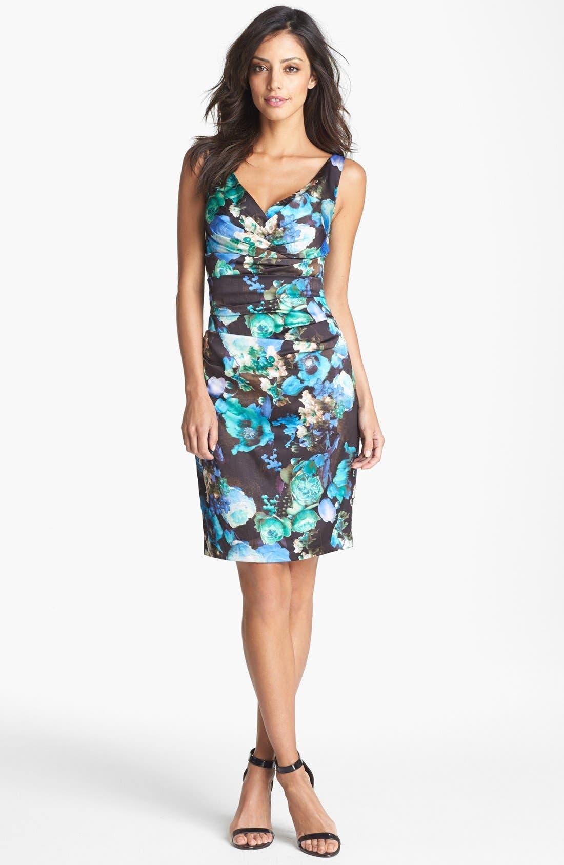 Main Image - Ivy & Blu Print Ruched Sheath Dress