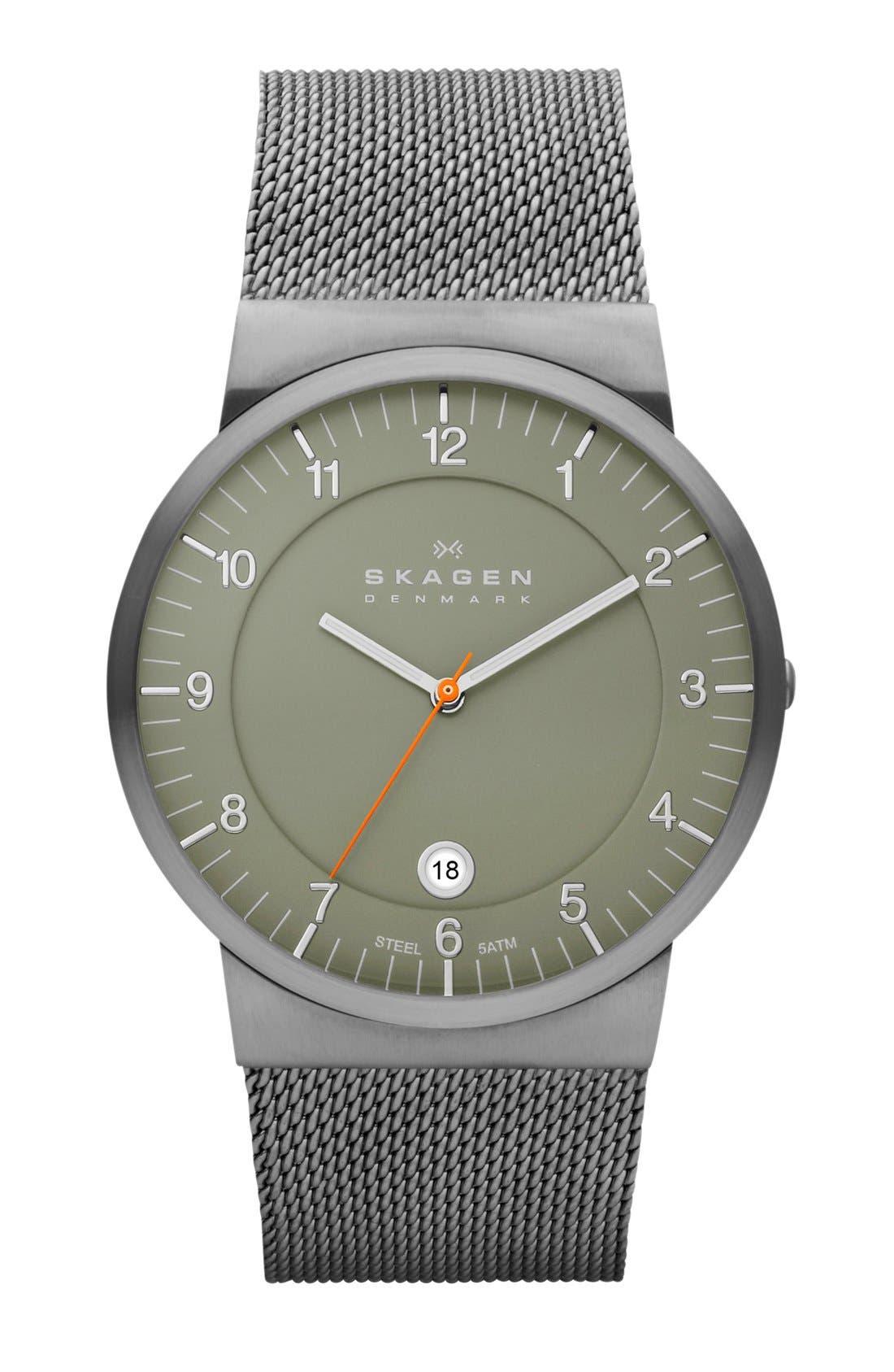 Main Image - Skagen Slim Round Mesh Strap Watch, 39mm