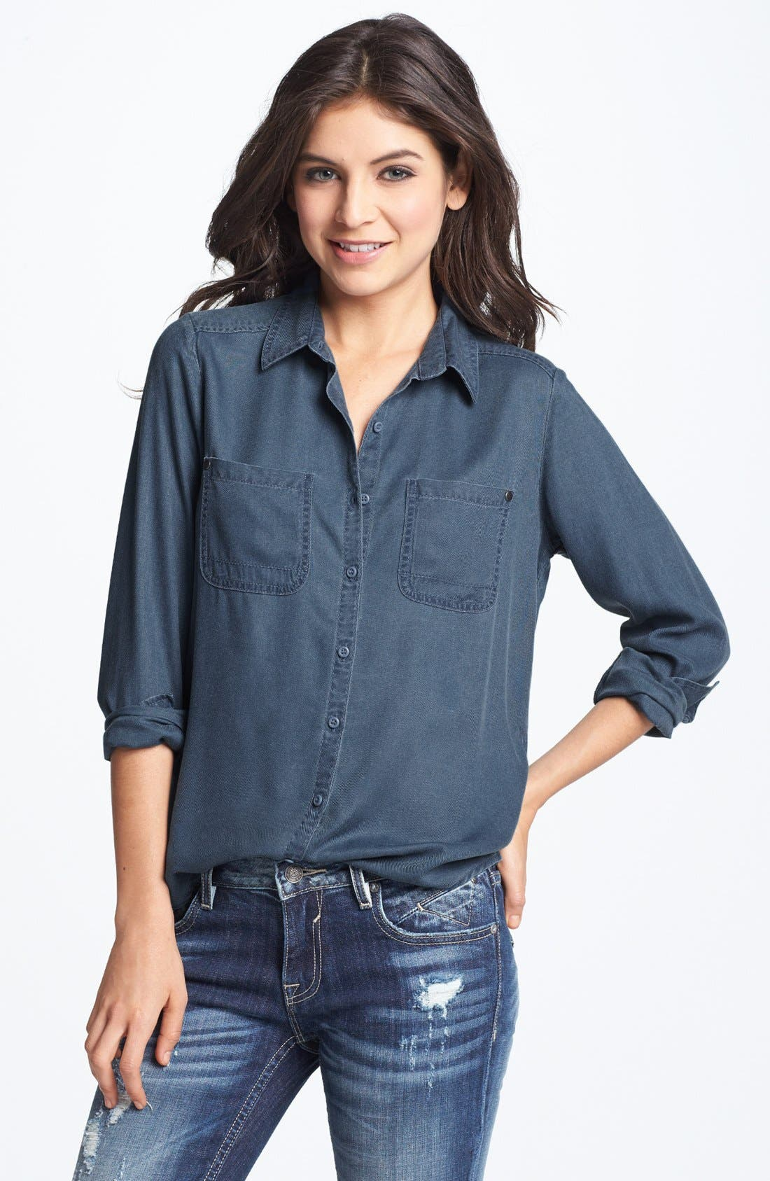 Alternate Image 1 Selected - Rubbish® Workwear Shirt (Juniors) (Online Only)